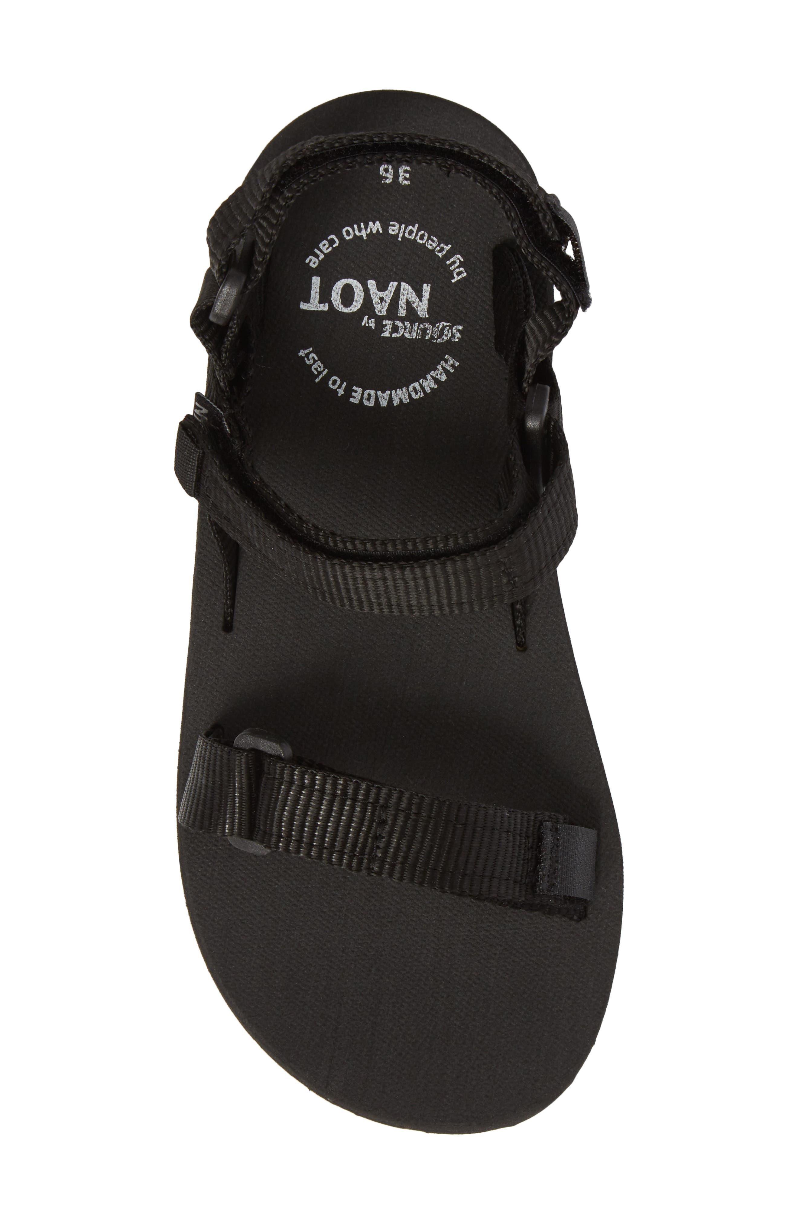 Haven Waterproof Sandal,                             Alternate thumbnail 5, color,                             BLACK FABRIC