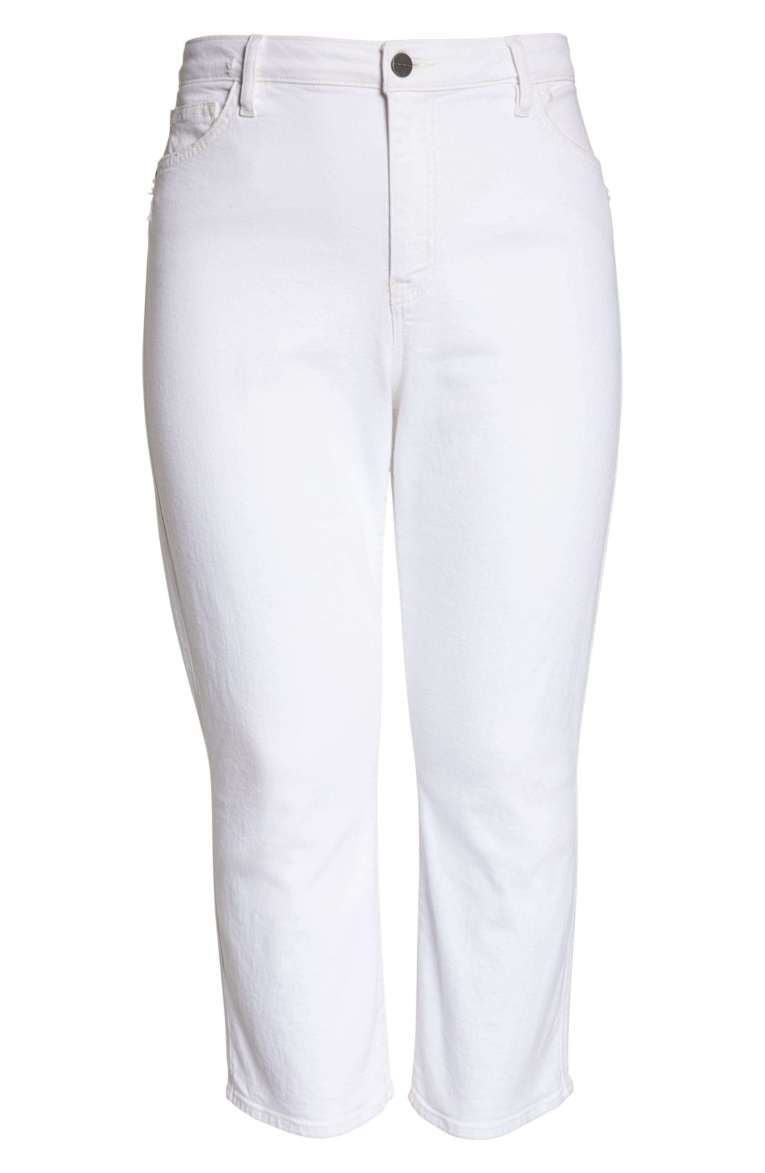 Modern High Rise Straight Leg Crop Jeans,                             Alternate thumbnail 7, color,                             ANGLNO WHT