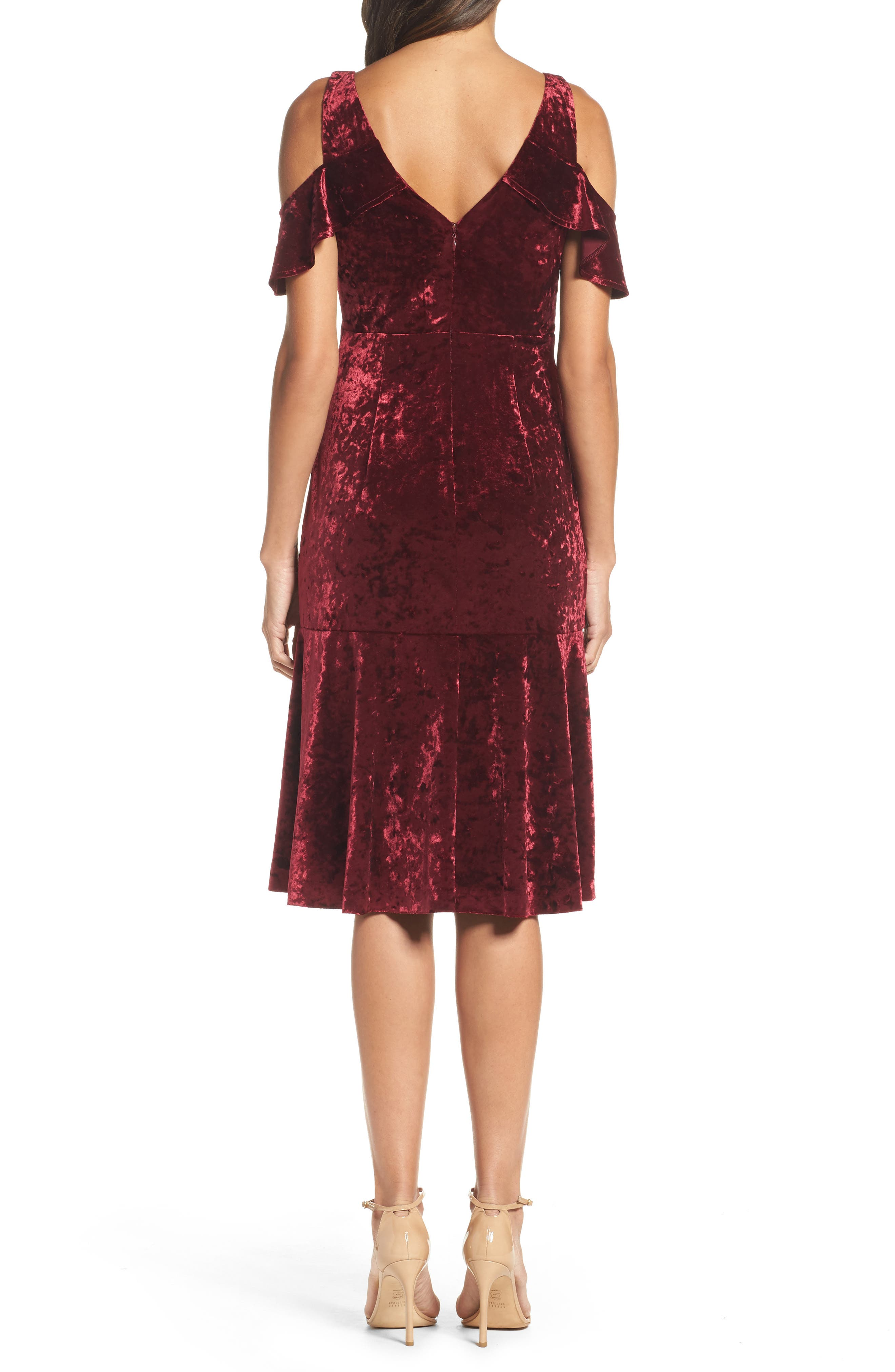 Cold Shoulder Velvet Dress,                             Alternate thumbnail 2, color,