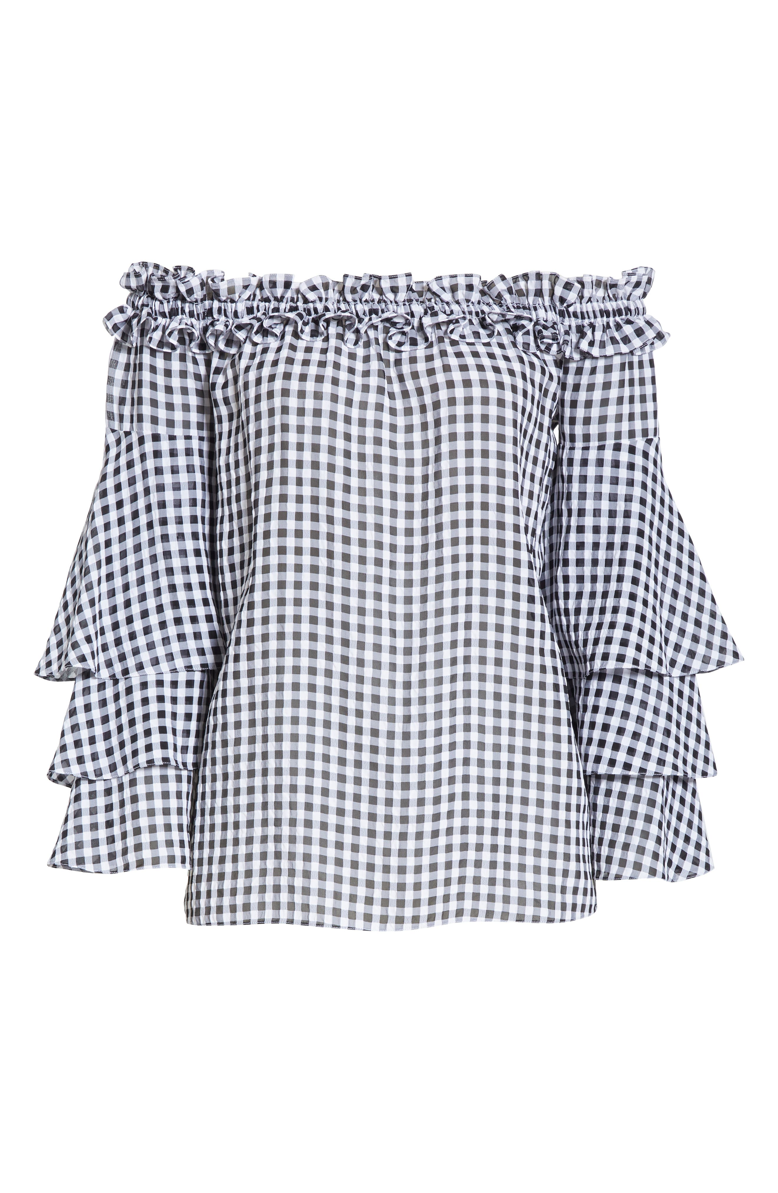 Gingham Tiered Sleeve Off the Shoulder Top,                             Alternate thumbnail 6, color,                             BLACK/ OPTIC WHITE