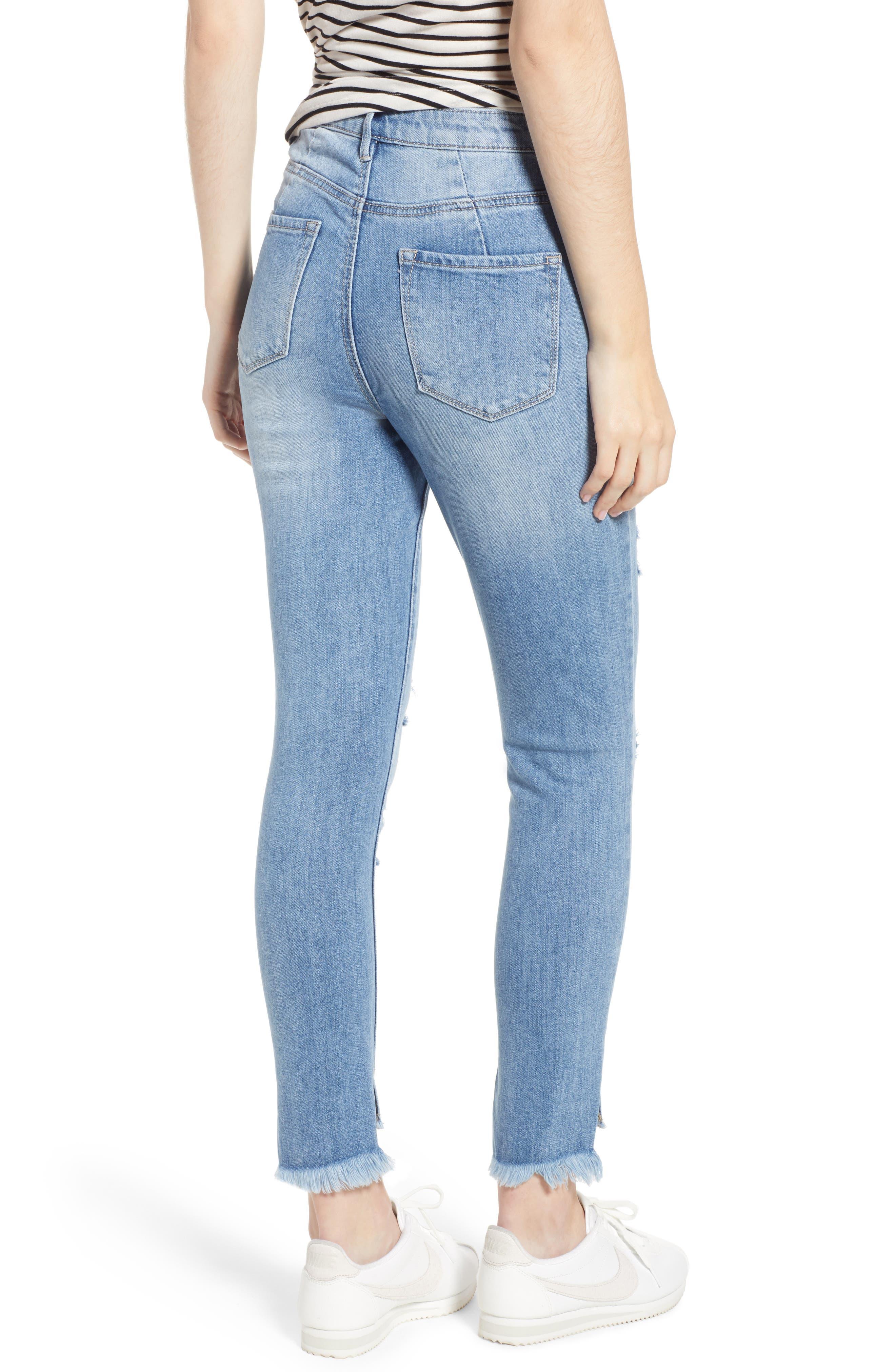 Ripped High Waist Step Hem Skinny Jeans,                             Alternate thumbnail 2, color,                             400