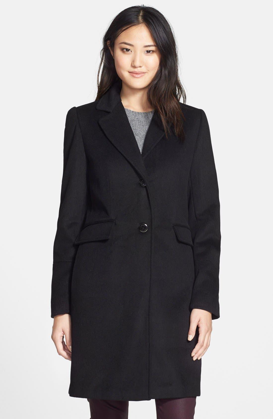 CALVIN KLEIN,                             Notch Collar Wool Blend Coat,                             Main thumbnail 1, color,                             001