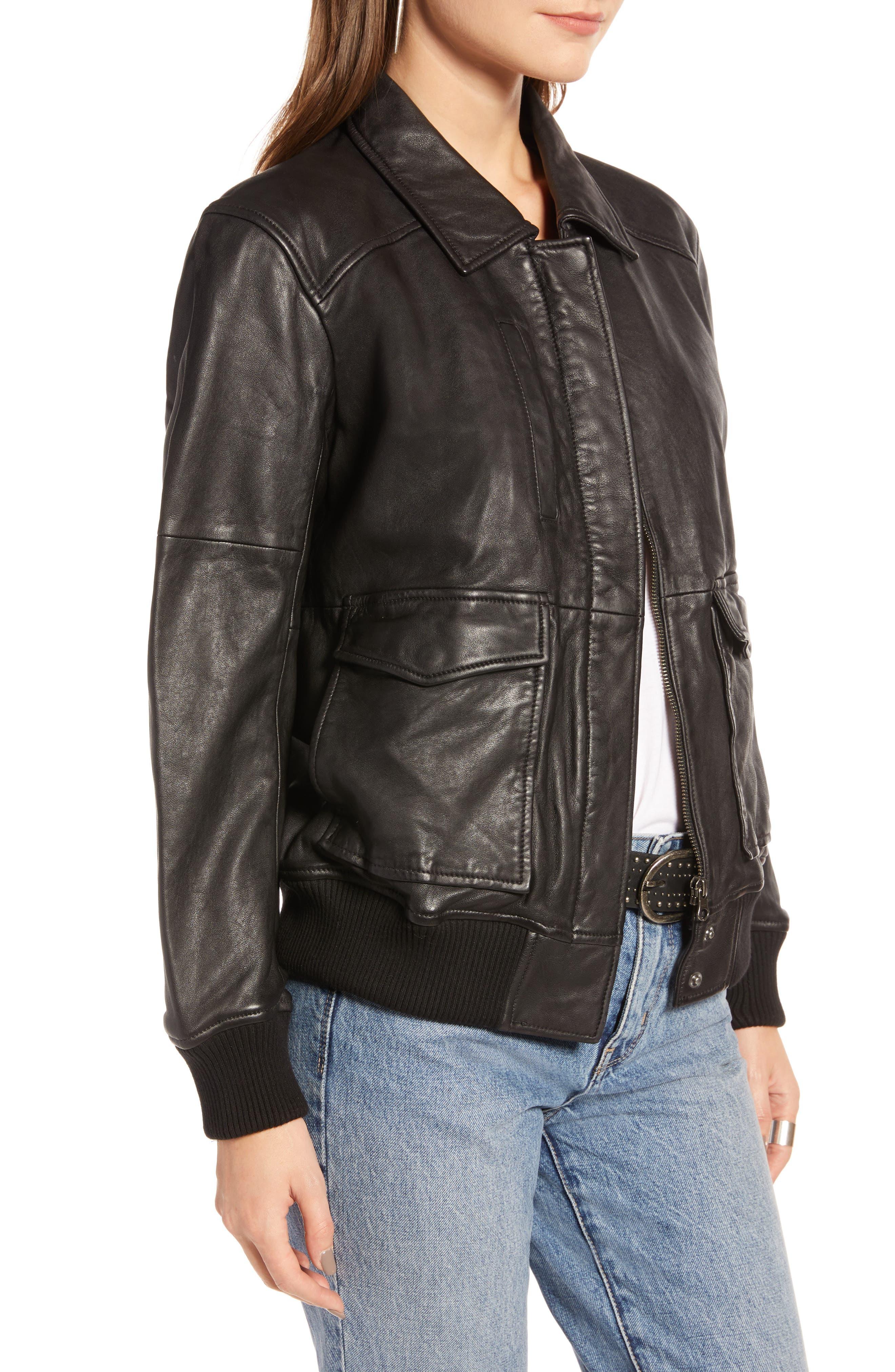 Leather Aviator Jacket,                             Alternate thumbnail 3, color,                             BLACK