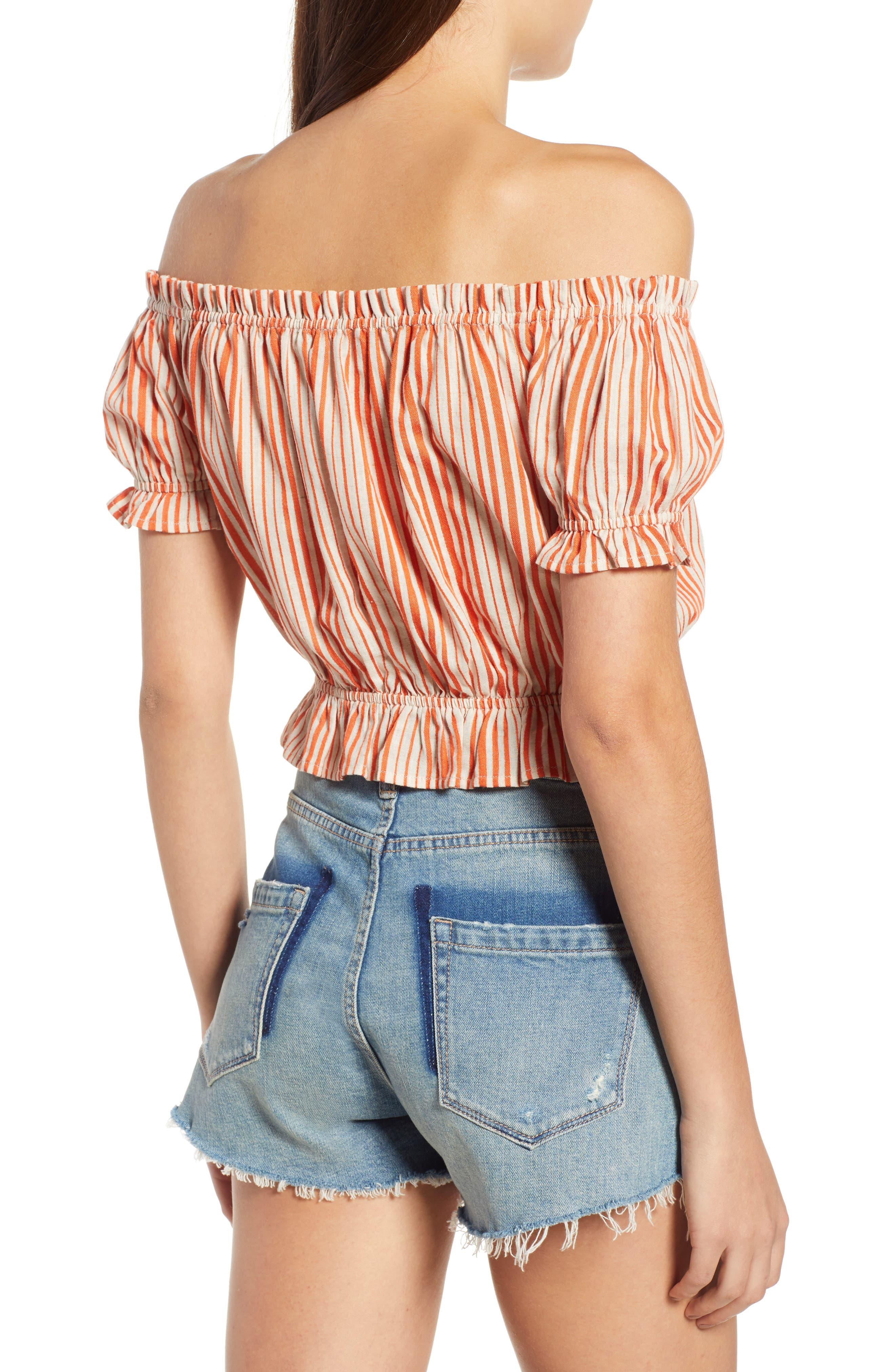 Stripe Off the Shoulder Linen & Cotton Top,                             Alternate thumbnail 2, color,                             800