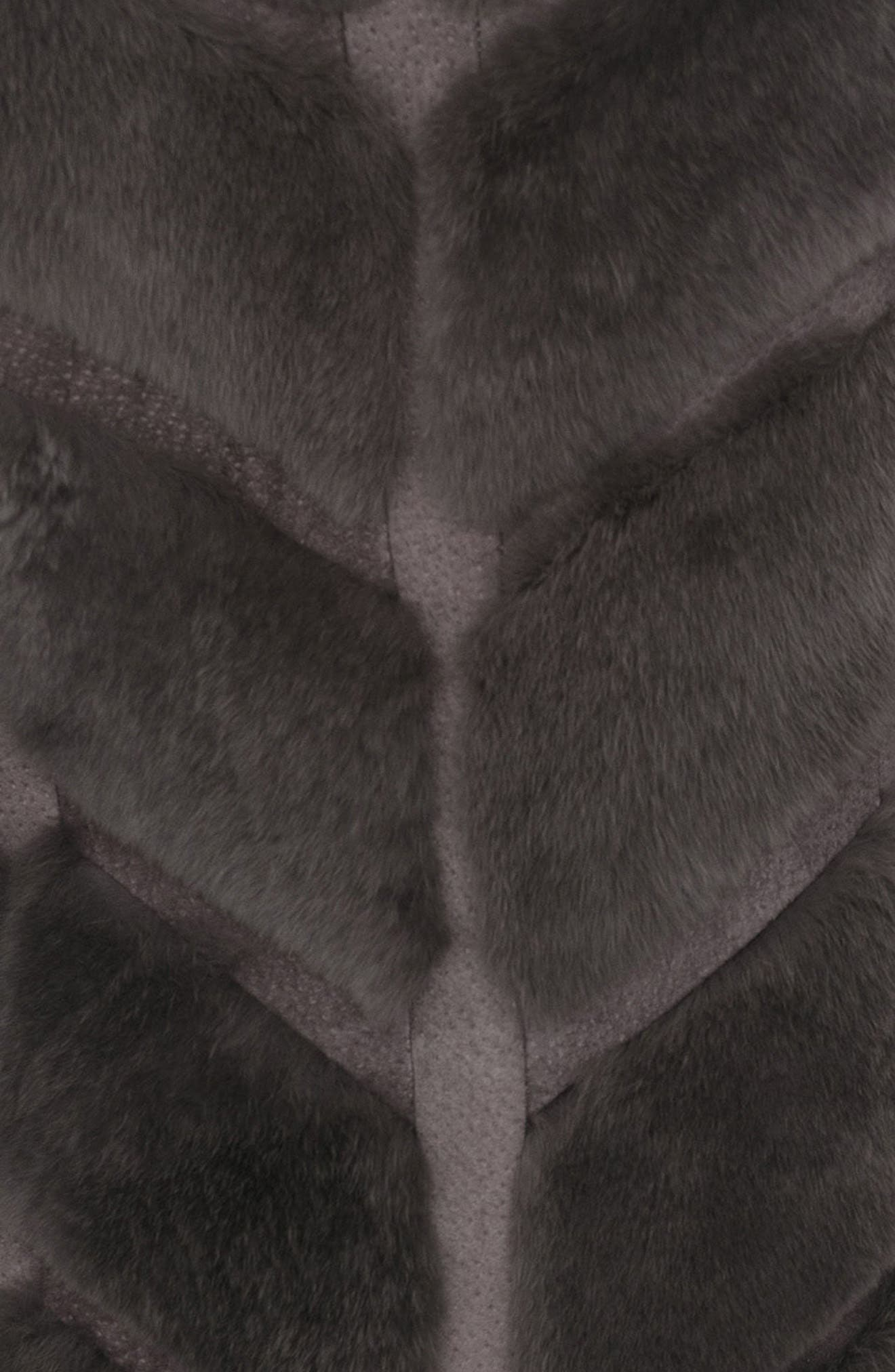Genuine Rabbit Fur & Leather Jacket,                             Alternate thumbnail 4, color,                             028