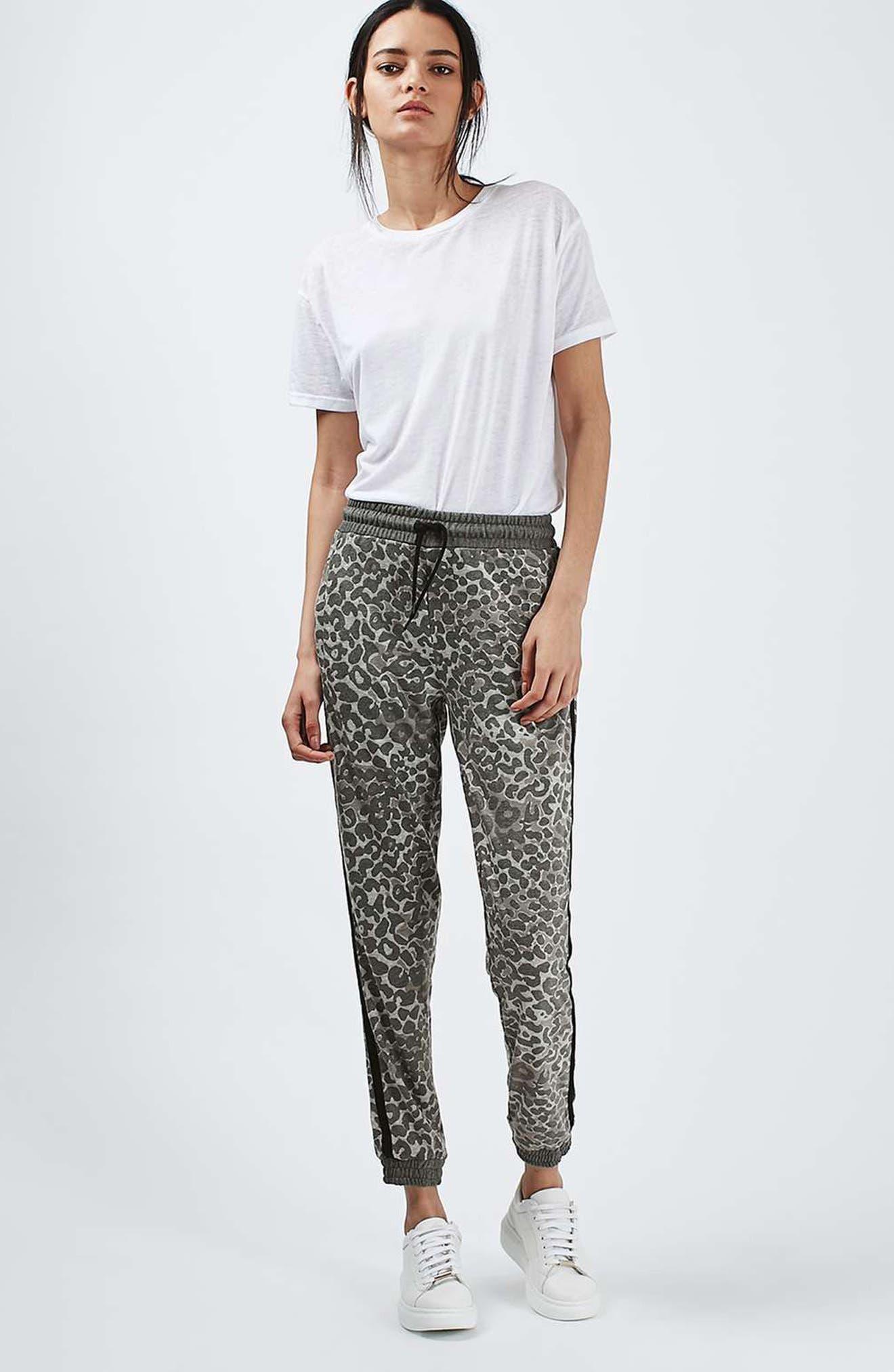 Leopard Print Jogger Pants,                             Alternate thumbnail 4, color,                             250