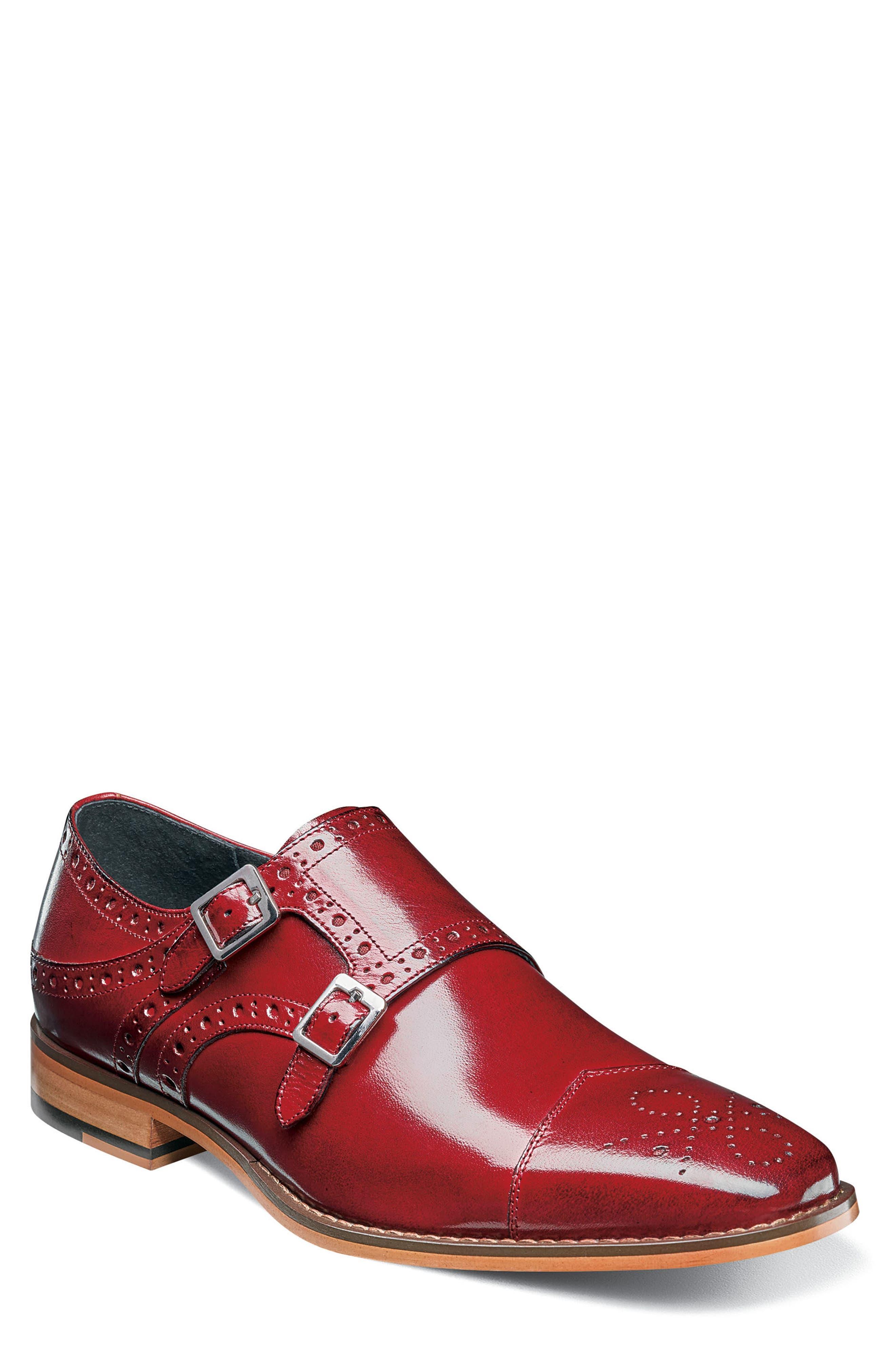 Tayton Cap Toe Double Strap Monk Shoe,                         Main,                         color, RED LEATHER