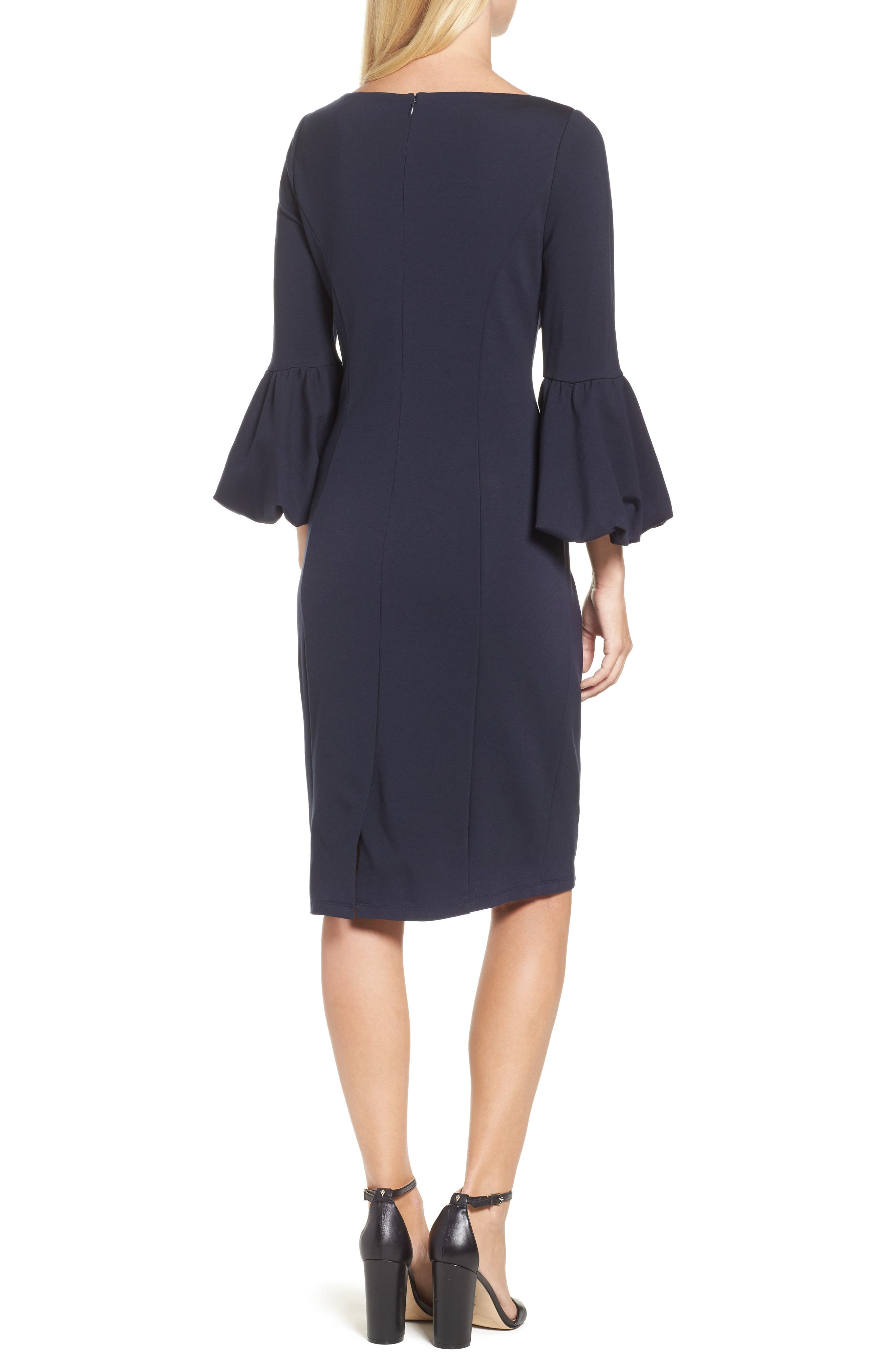 Ruffle Sleeve Sheath Dress,                             Alternate thumbnail 2, color,                             NAVY