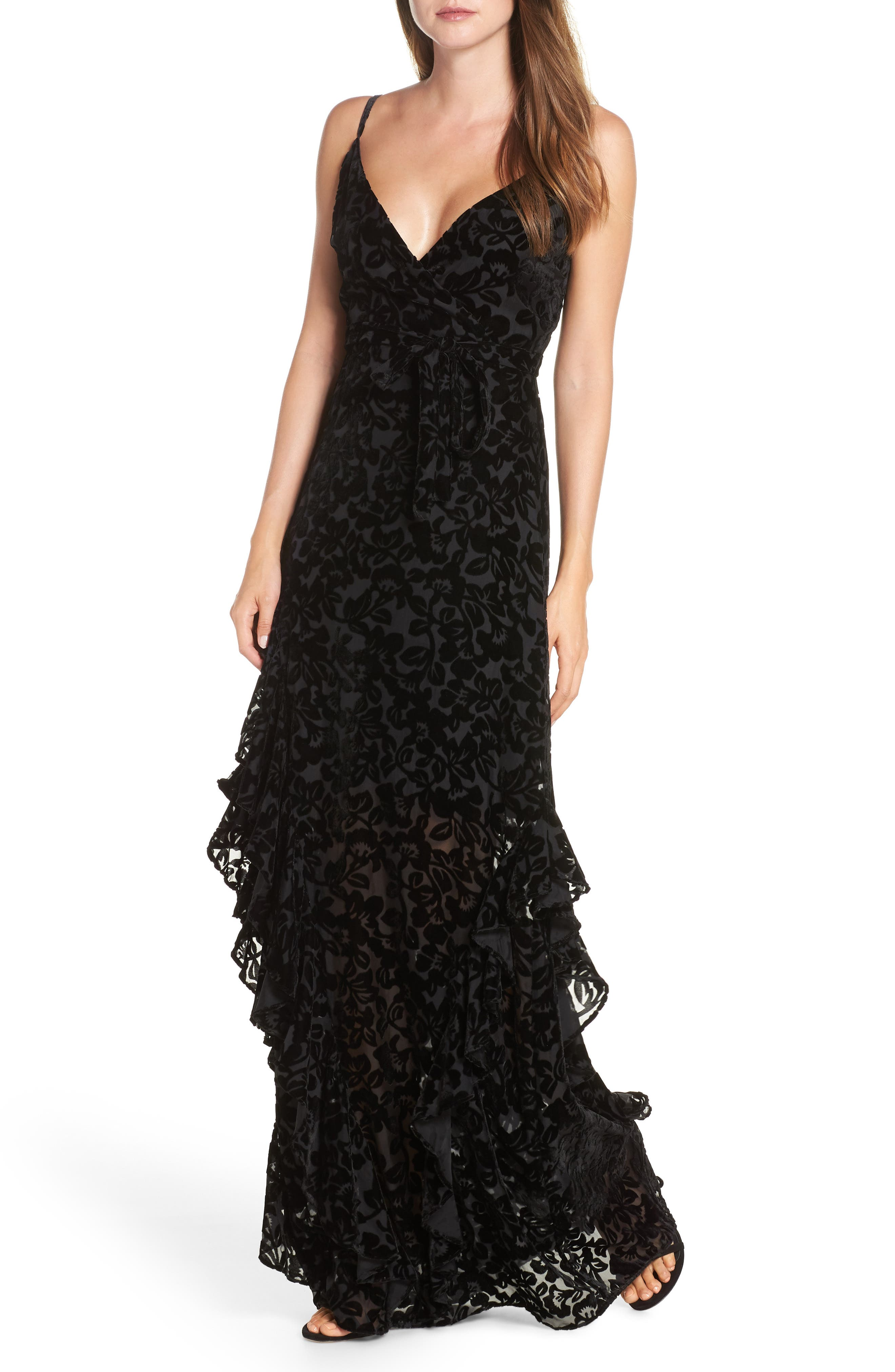 Ml Monique Lhuillier Velvet Burnout Tiered Gown, Black