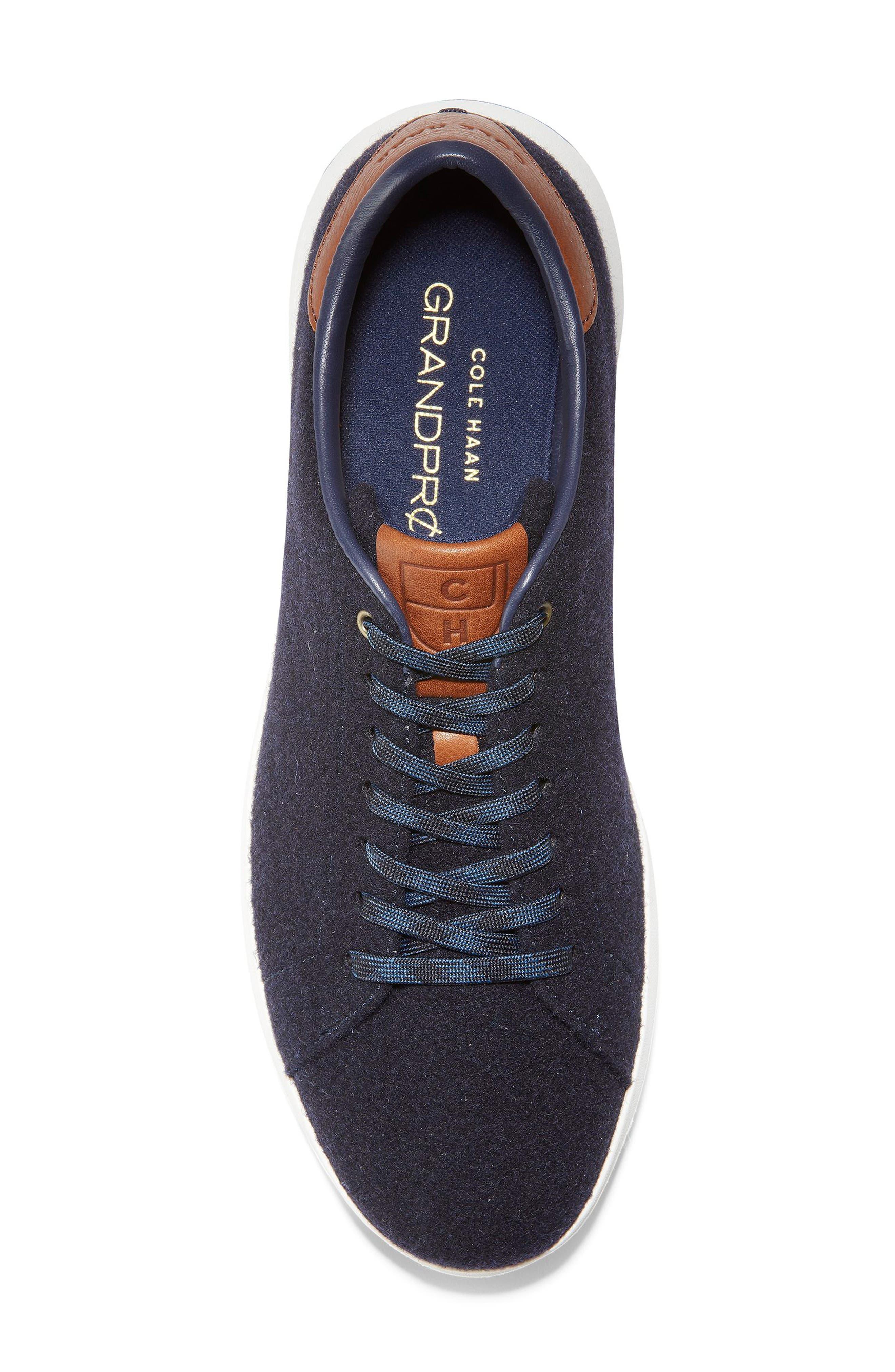 GrandPro Tennis Sneaker,                             Alternate thumbnail 5, color,                             NAVY INK WOOL/ BRITISH TAN
