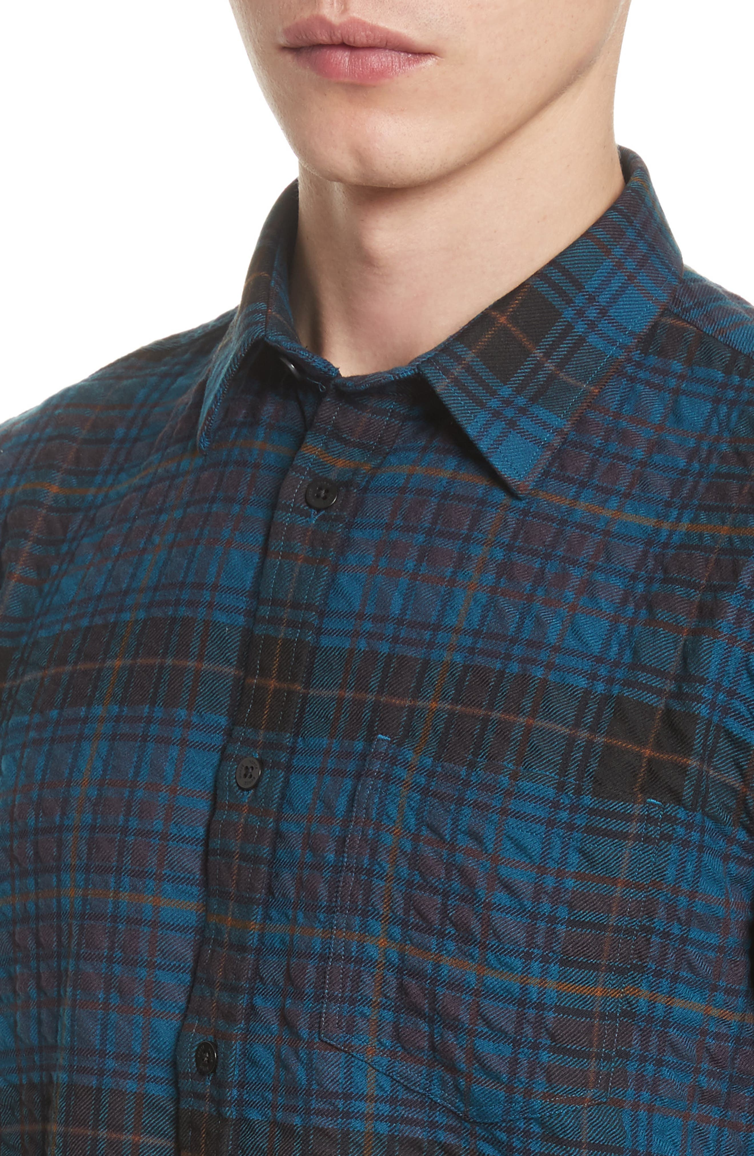 Osvald Textured Check Flannel Shirt,                             Alternate thumbnail 5, color,                             411