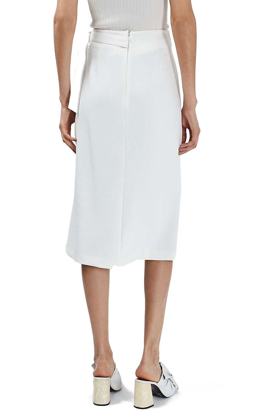 Pleat Detail Wrap Midi Skirt,                             Alternate thumbnail 3, color,                             900