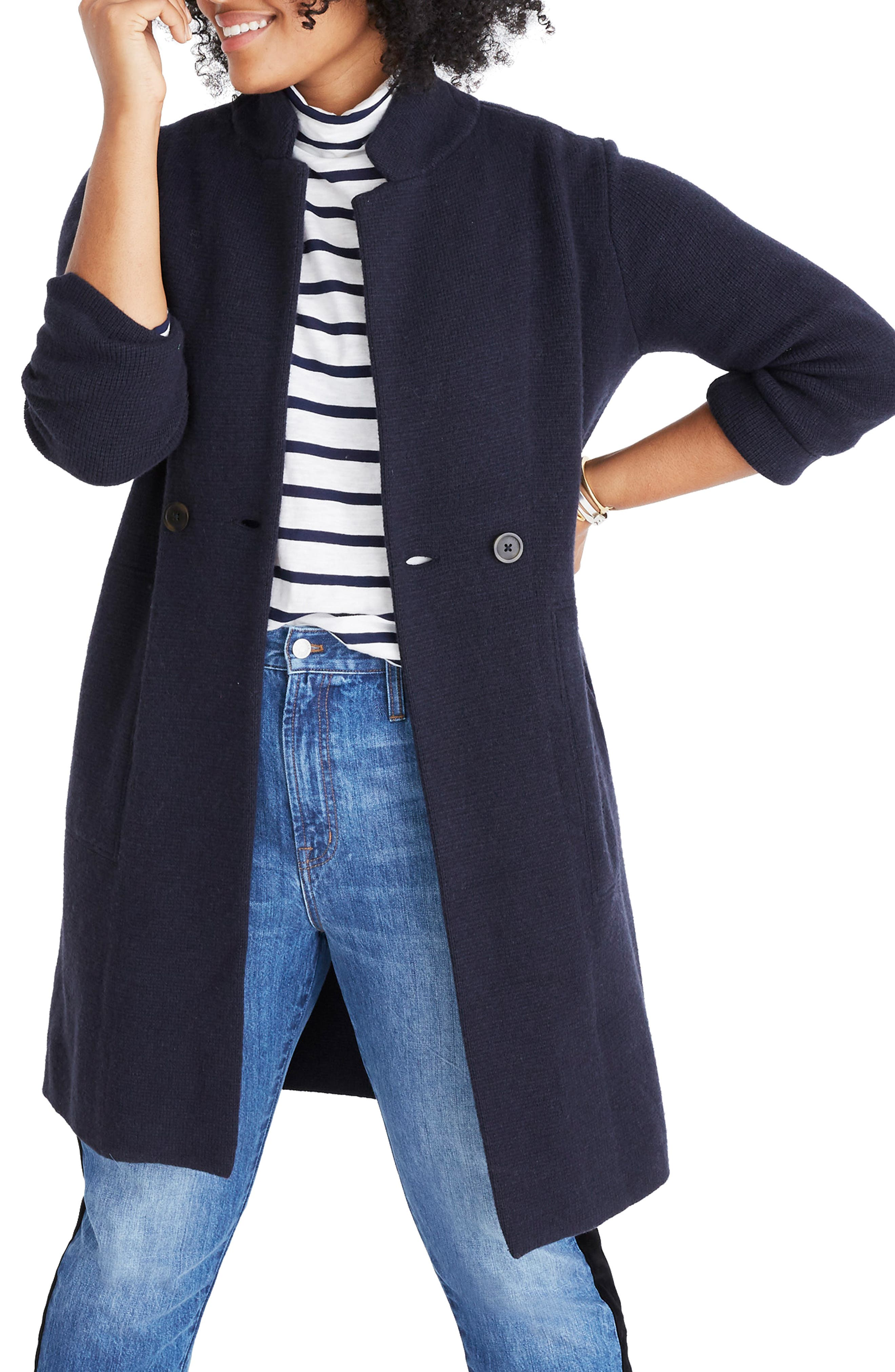 Double Breasted Sweater Coat,                             Alternate thumbnail 2, color,                             NAUTICAL BLACK