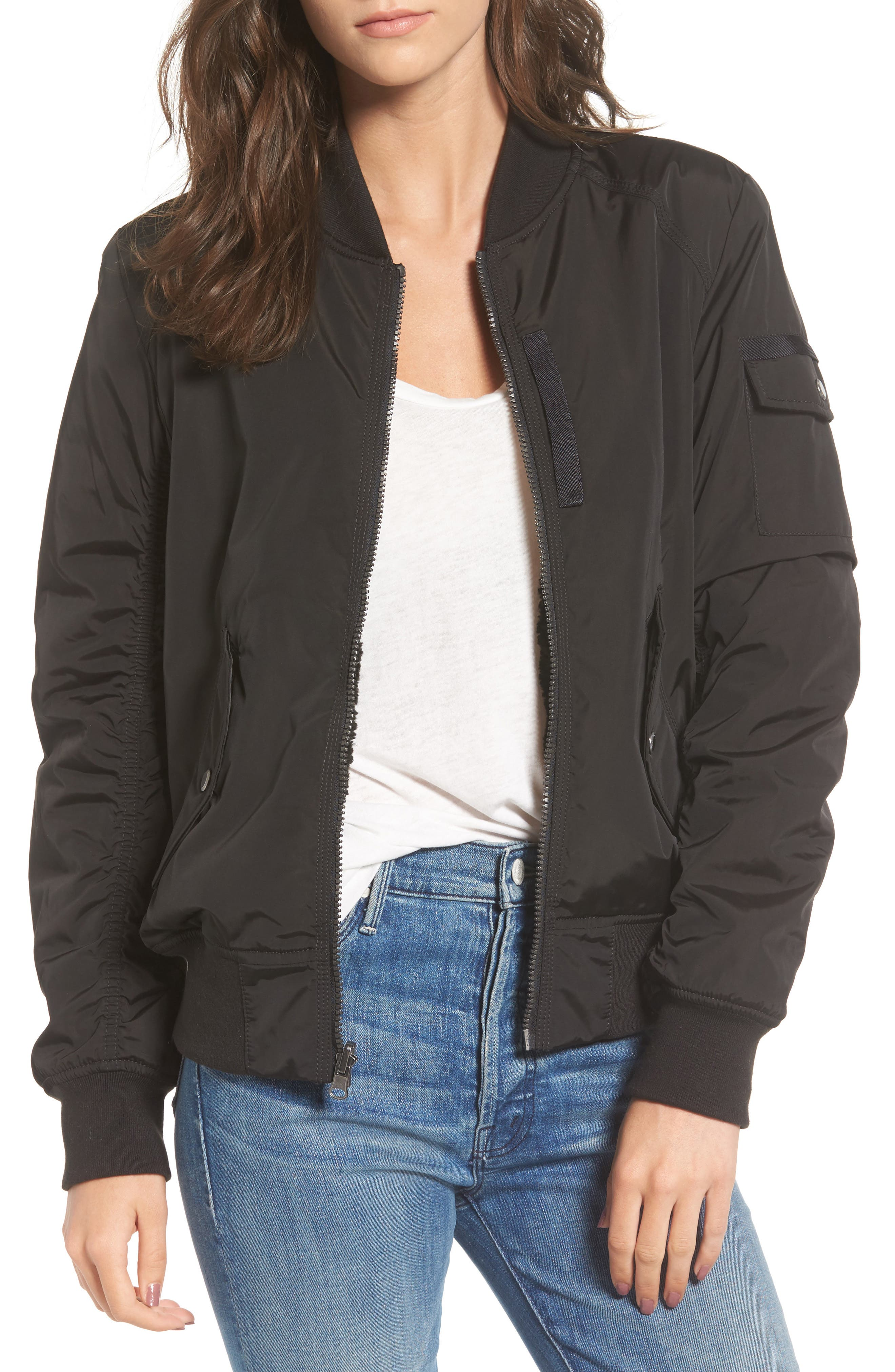 Andrew Marc Nicole Reversible Bomber Jacket,                             Main thumbnail 1, color,                             001