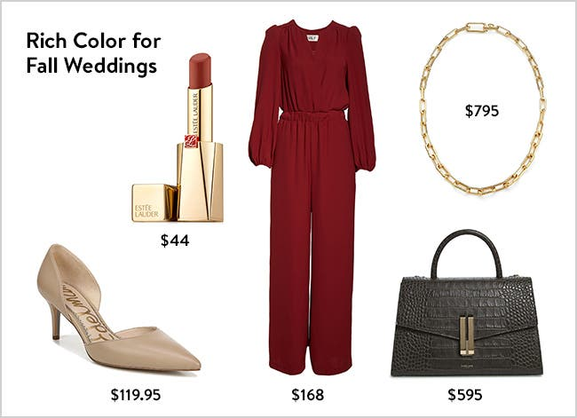 Rich color for fall weddings: wedding-guest clothing, shoes, beauty and accessories.