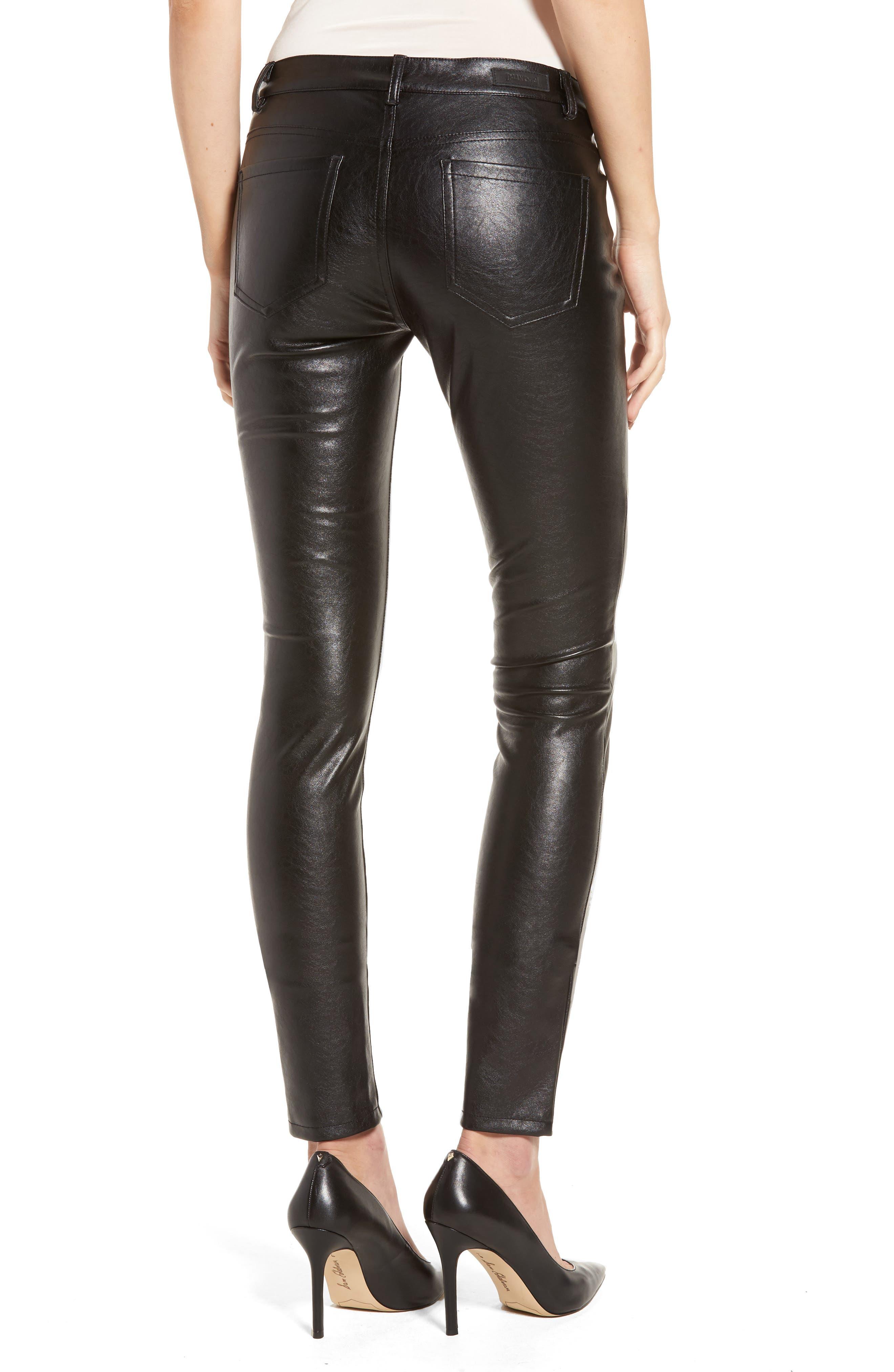 Skinny Classique Faux Leather Jeans,                             Alternate thumbnail 2, color,                             001