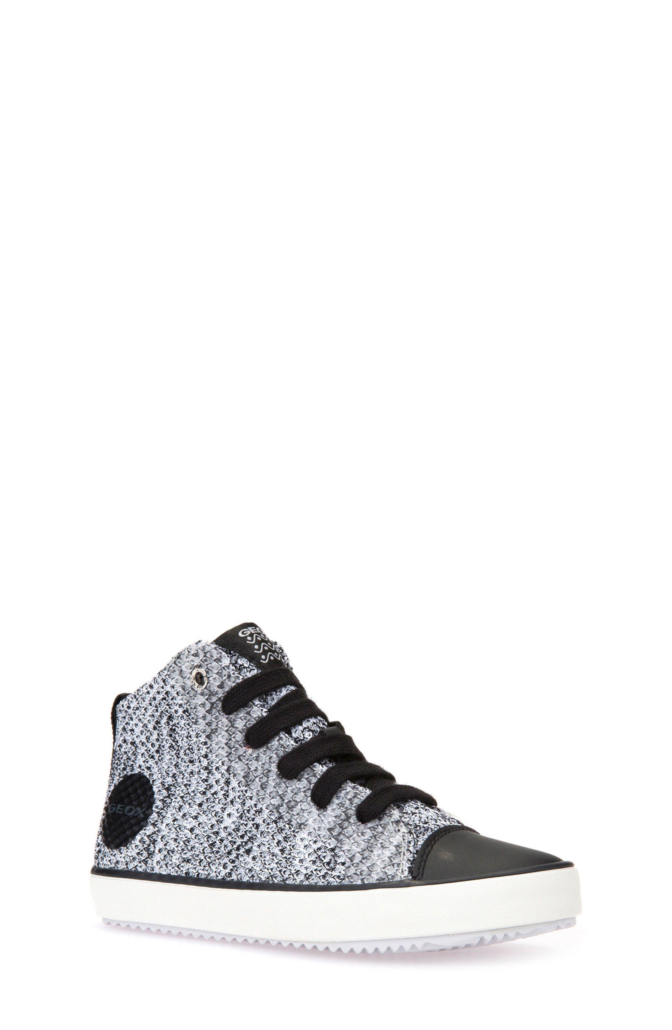 Alonisso Knit Mid Top Sneaker,                             Main thumbnail 1, color,                             WHITE/ BLACK