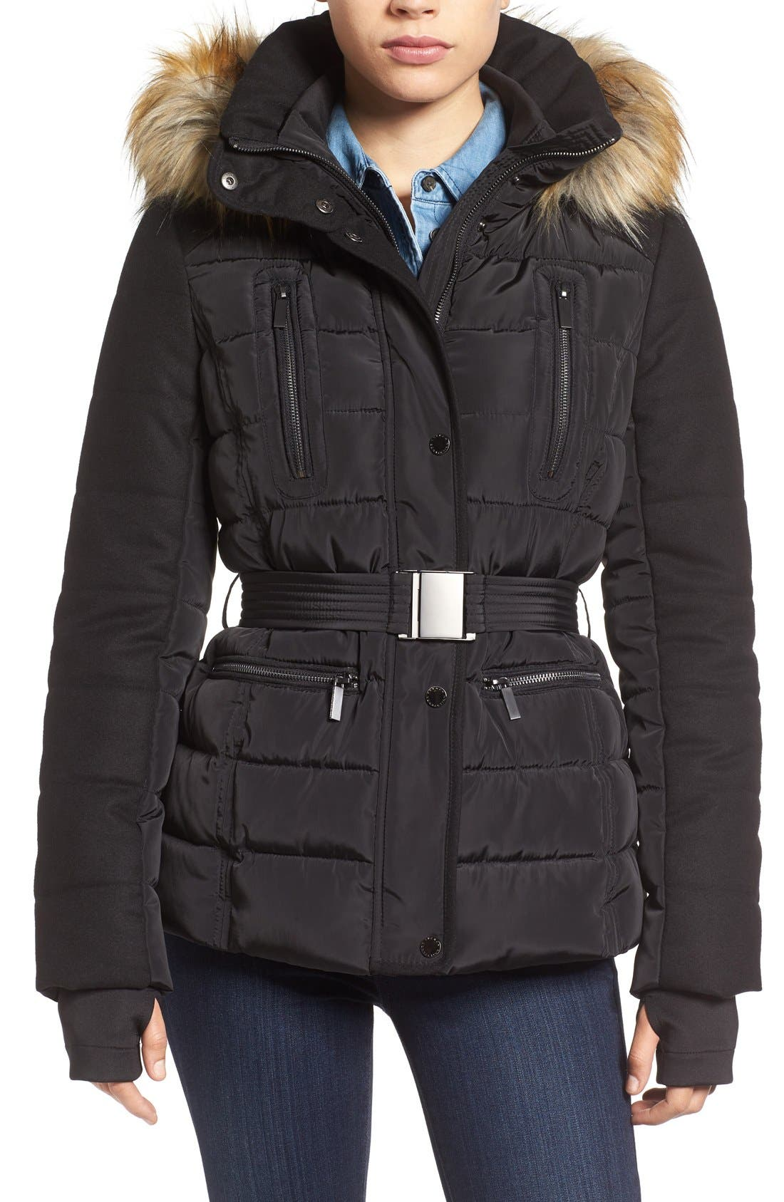 Belted Quilted Jacket with Faux Fur Trim, Main, color, 001