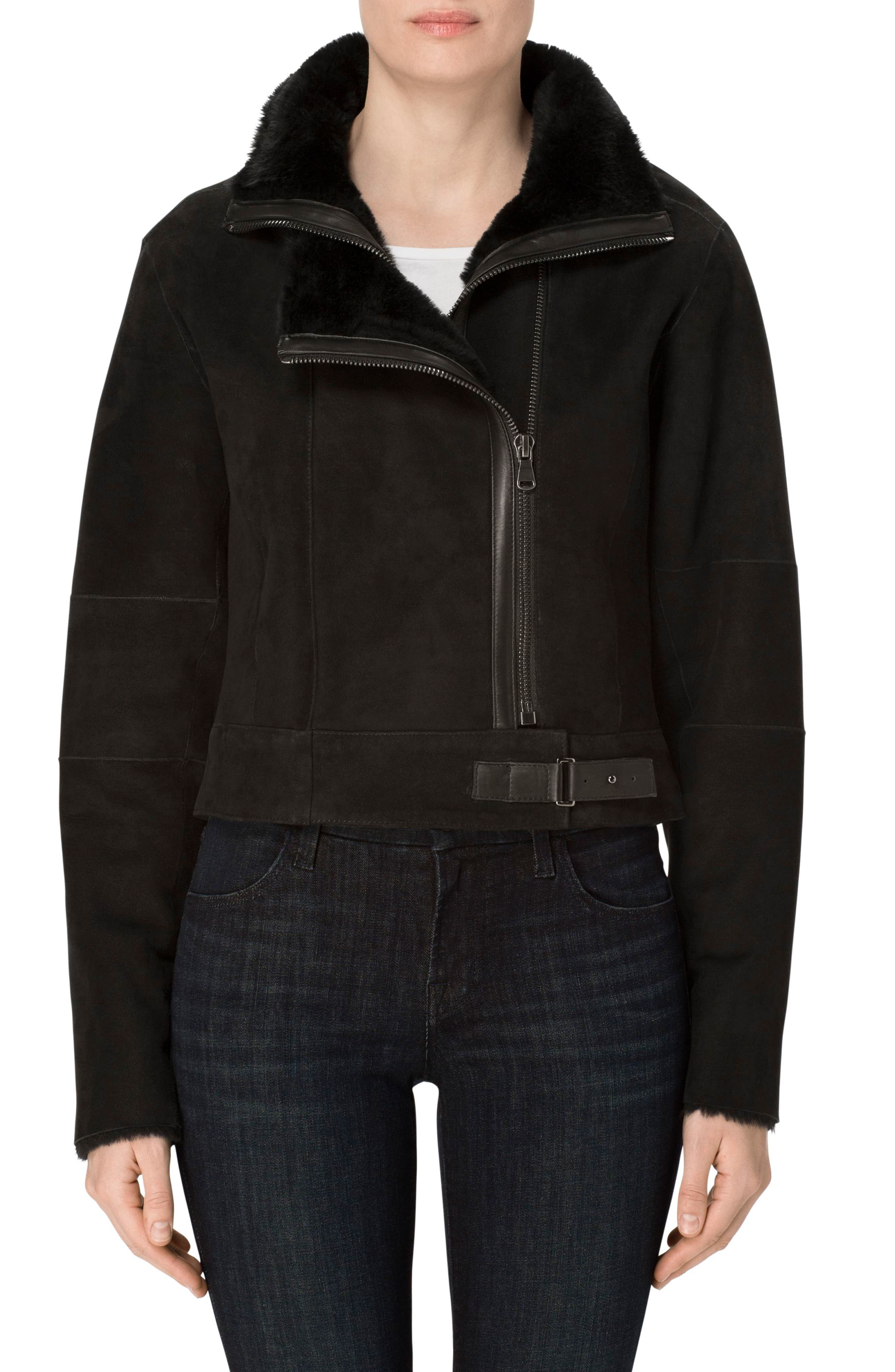 Camilla Suede Moto Jacket with Genuine Shearling,                             Alternate thumbnail 2, color,                             001