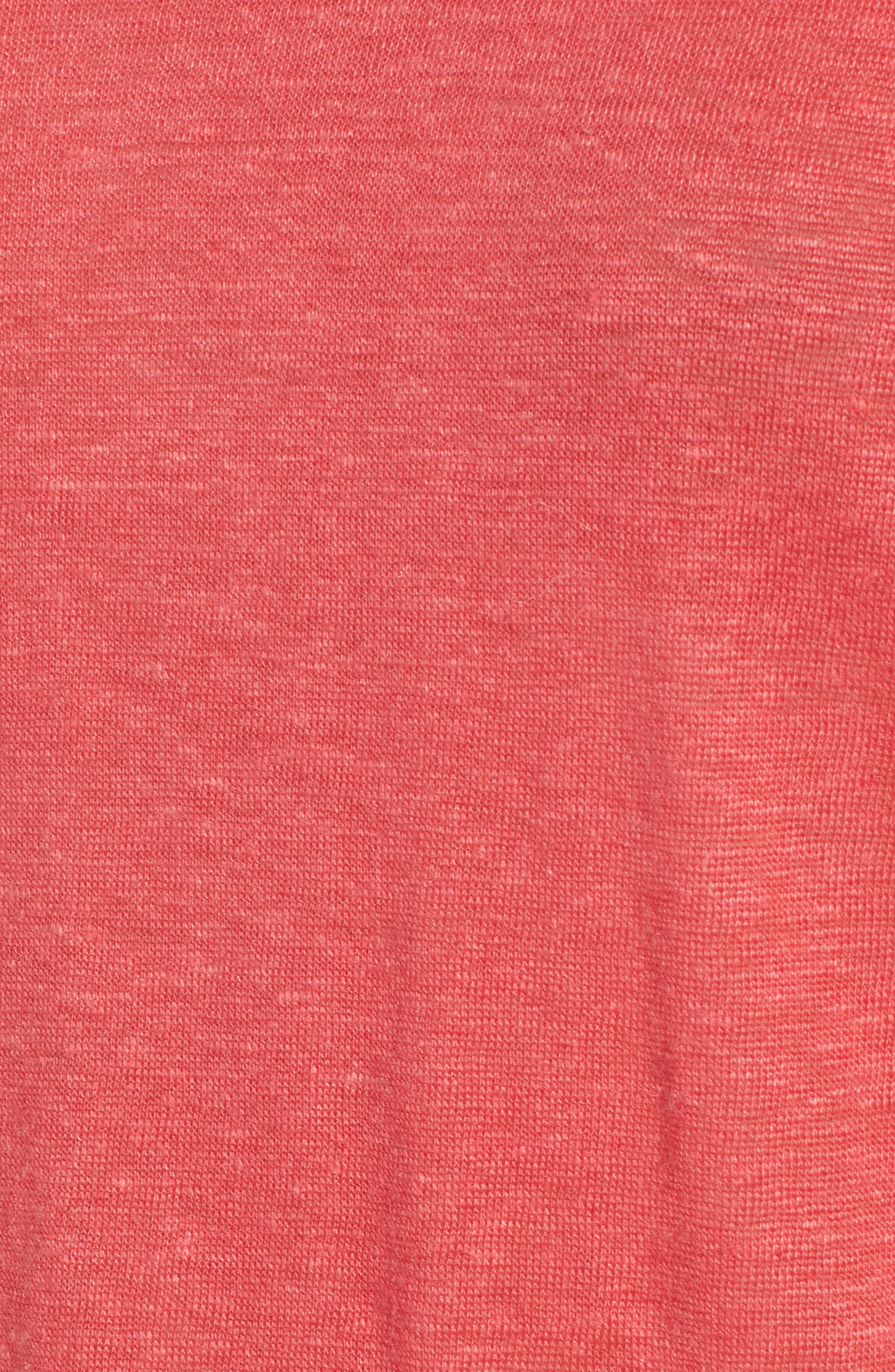 Ruffle Linen Tee,                             Alternate thumbnail 6, color,                             DARK CORAL REEF