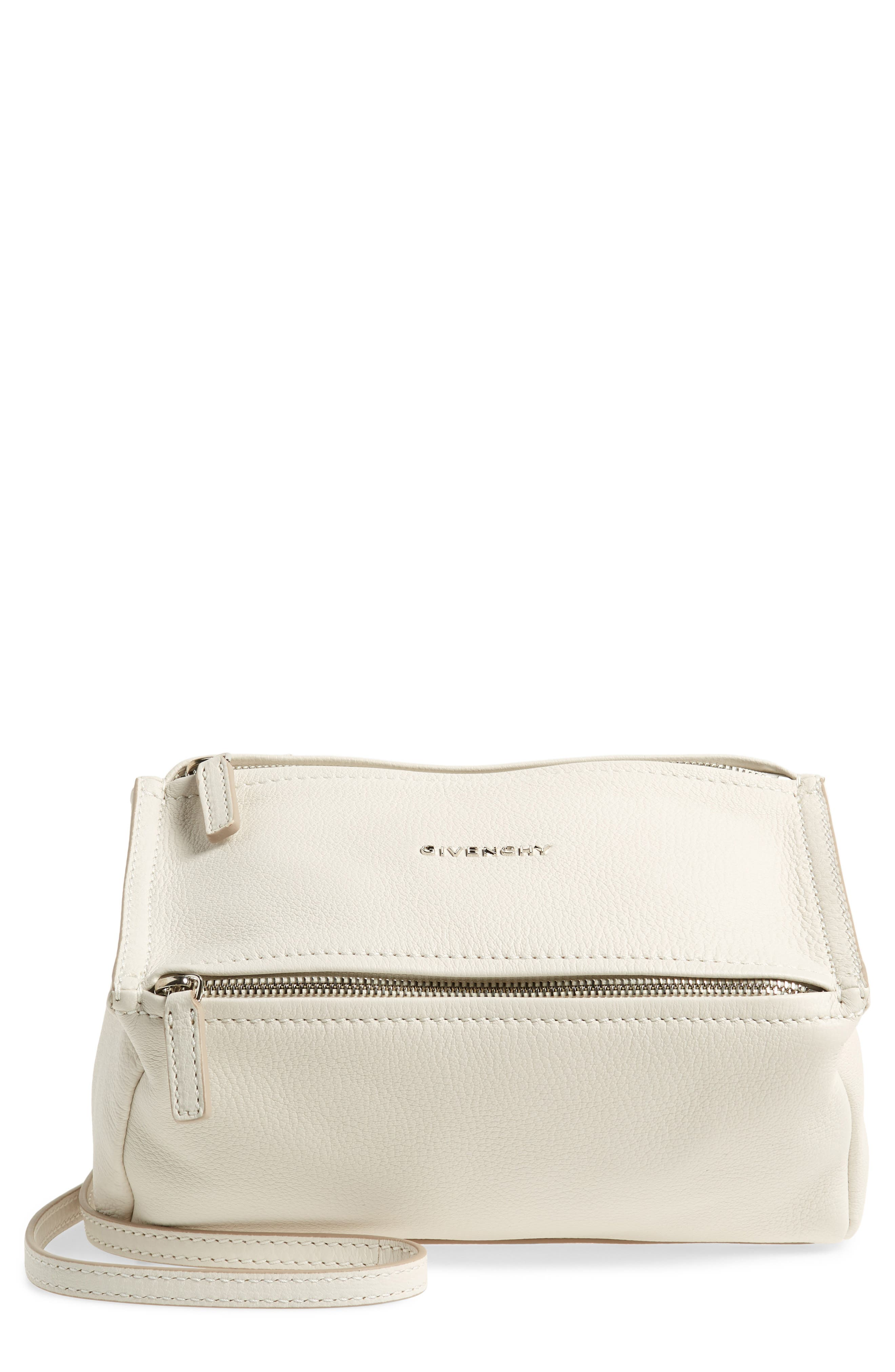 'Mini Pandora' Sugar Leather Shoulder Bag,                             Main thumbnail 1, color,                             WHITE