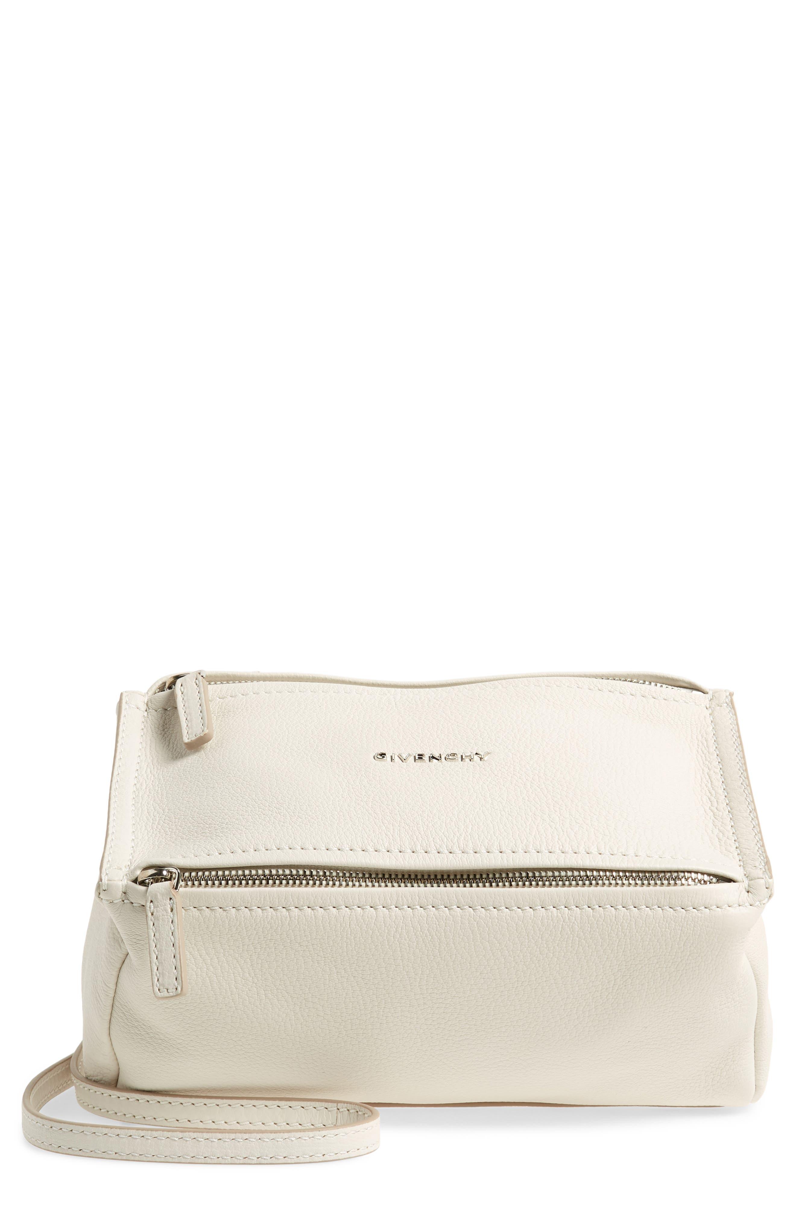 'Mini Pandora' Sugar Leather Shoulder Bag, Main, color, WHITE