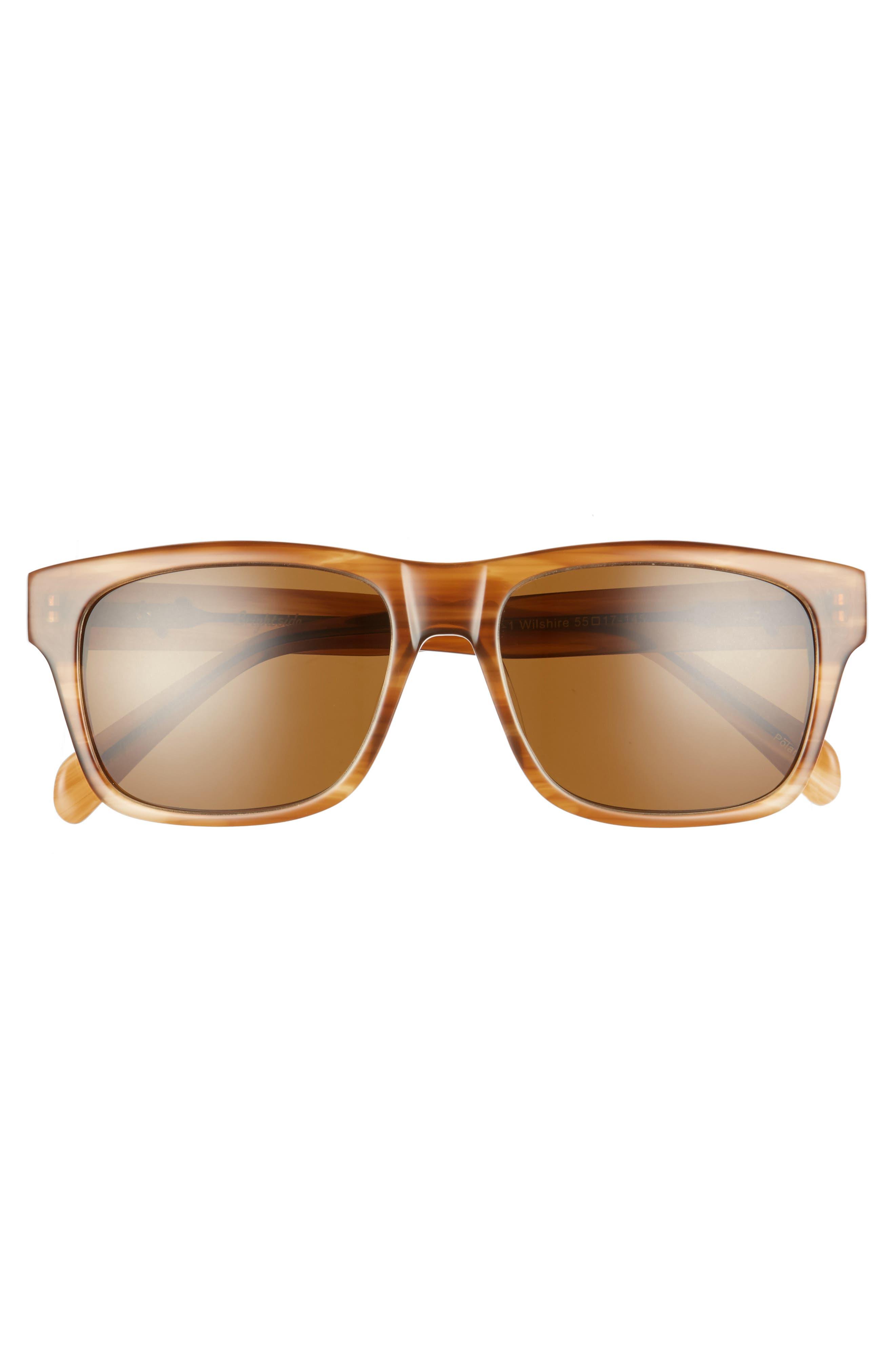 Wilshire 55mm Polarized Sunglasses,                             Alternate thumbnail 3, color,                             CEDAR/ BROWN POLAR