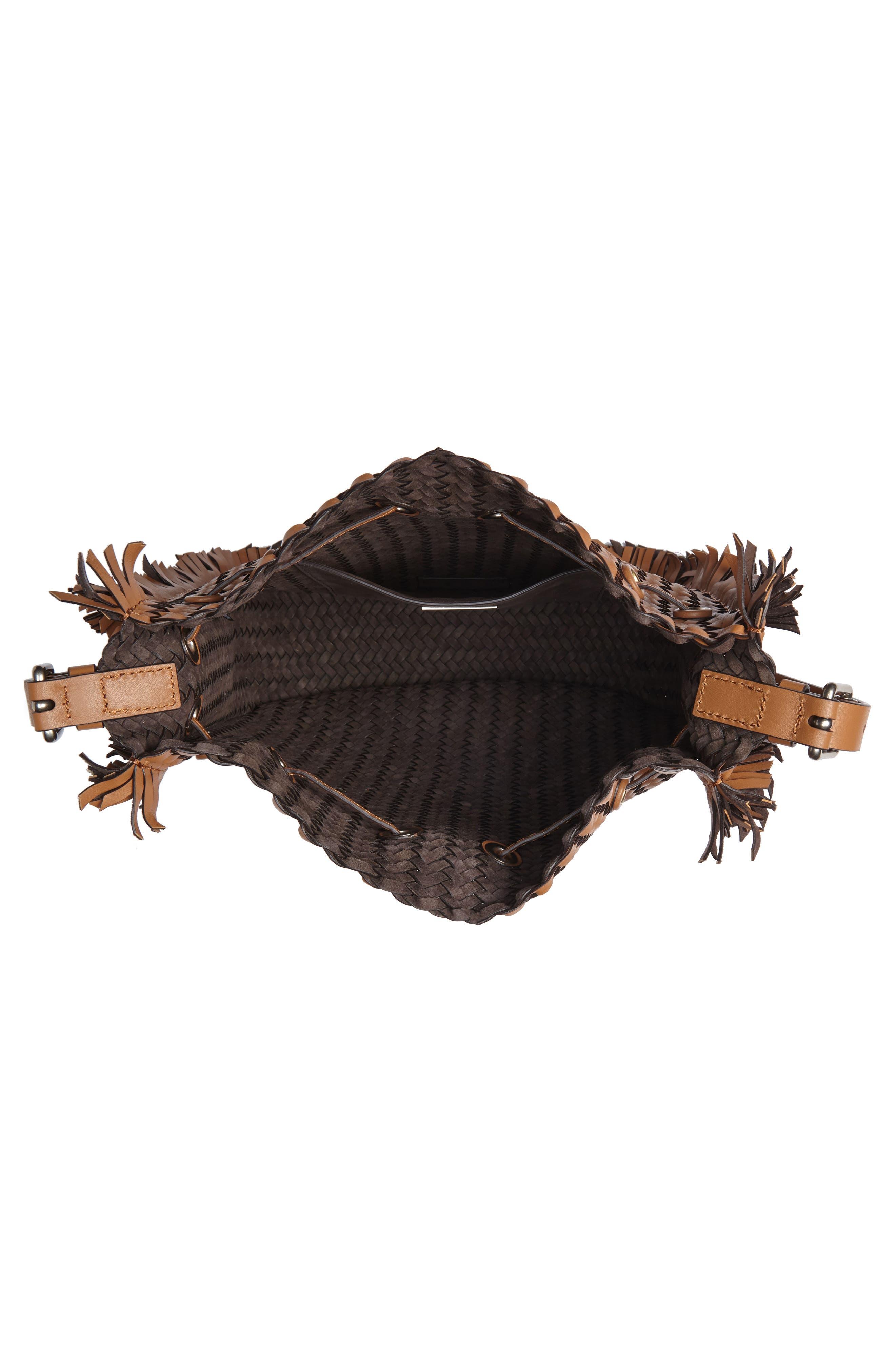 Maldives Woven Frayed Leather Crossbody Bag,                             Alternate thumbnail 4, color,                             231