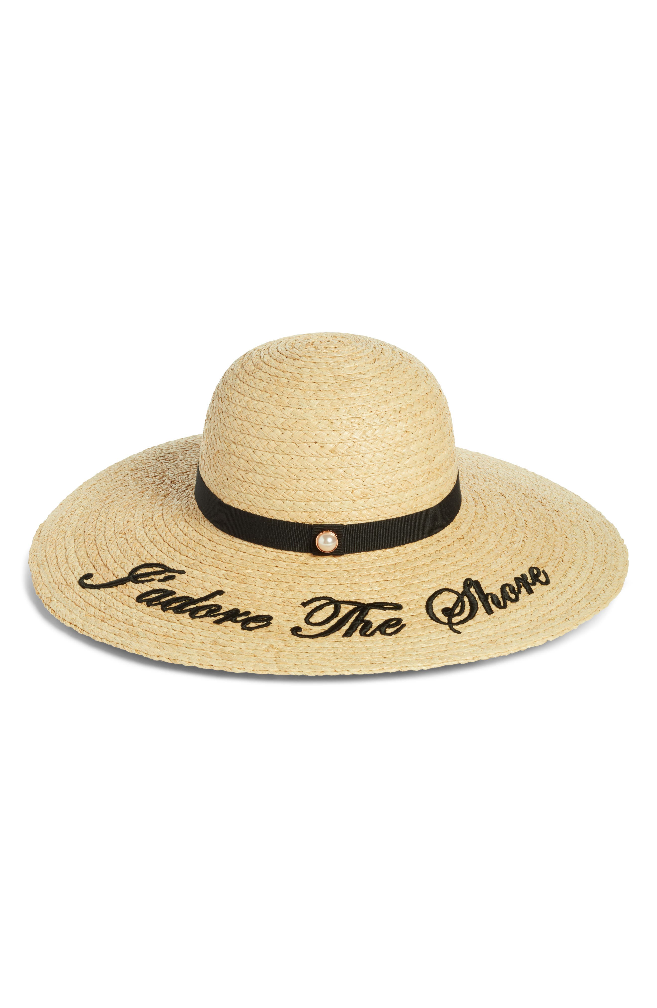 Script Embroidered Floppy Hat,                         Main,                         color, 001