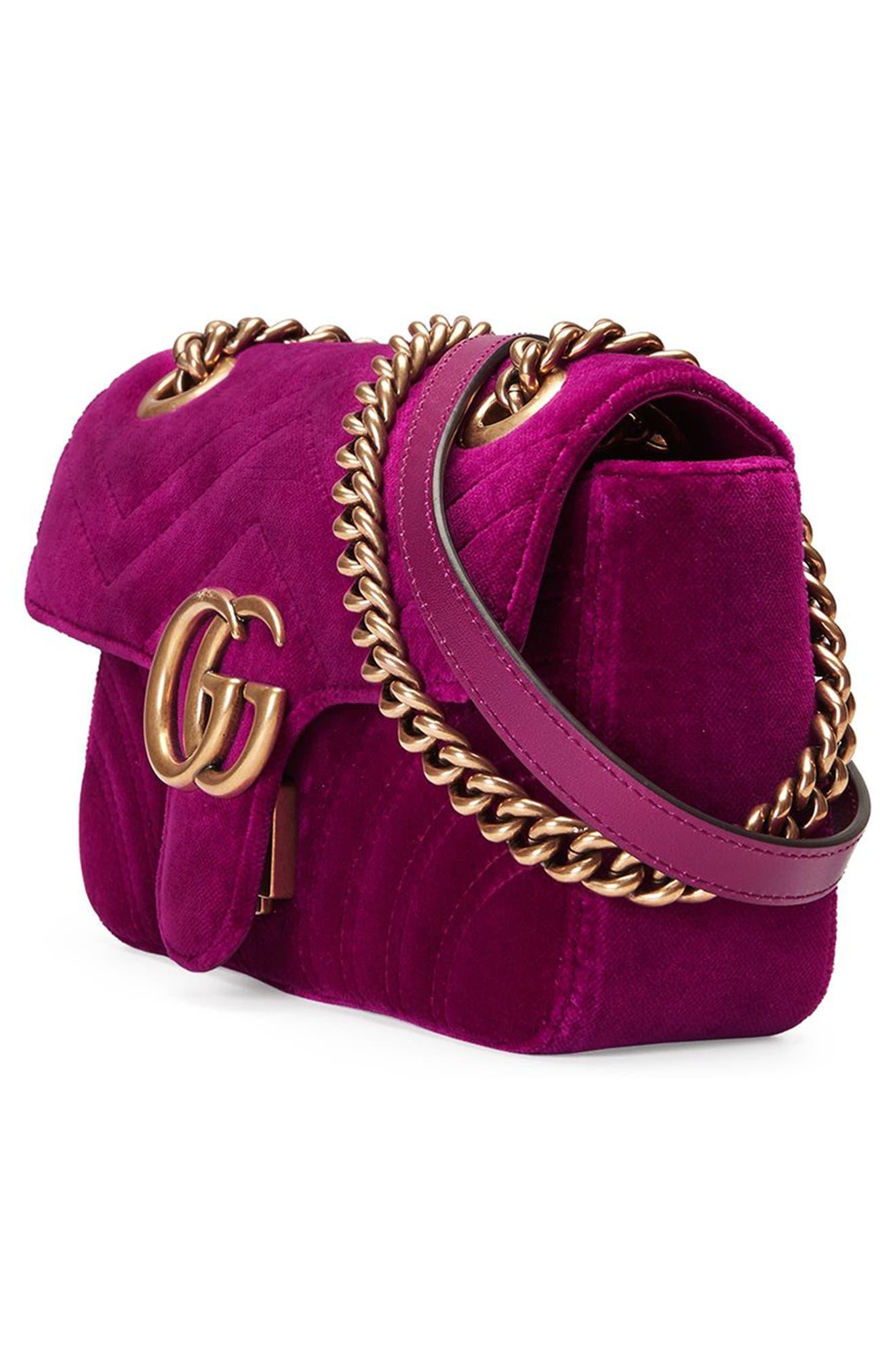 Small GG Marmont 2.0 Matelassé Velvet Shoulder Bag,                             Alternate thumbnail 4, color,                             FUCSIA