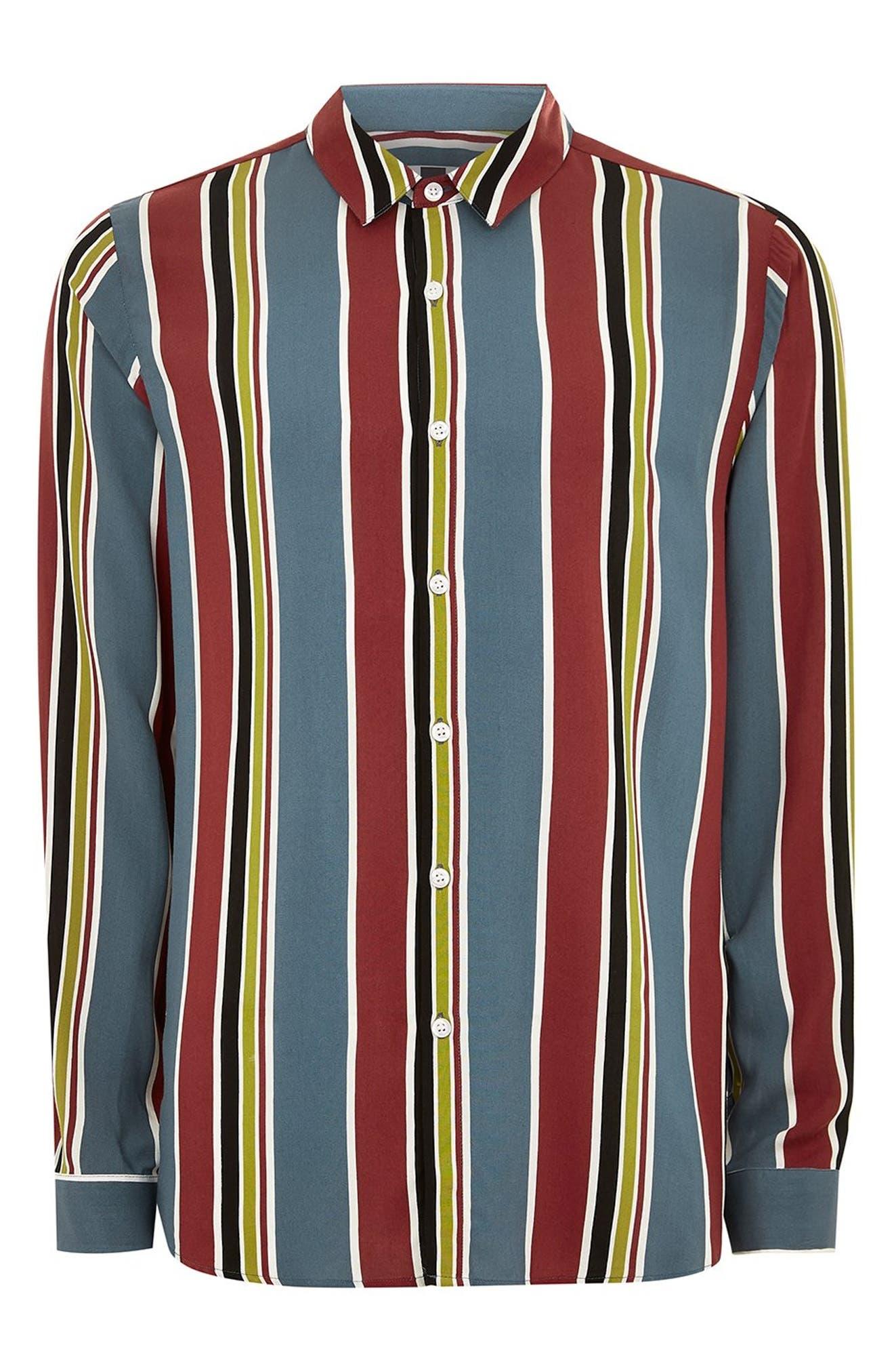 Stripe Classic Fit Sport Shirt,                             Alternate thumbnail 4, color,                             BLUE MULTI