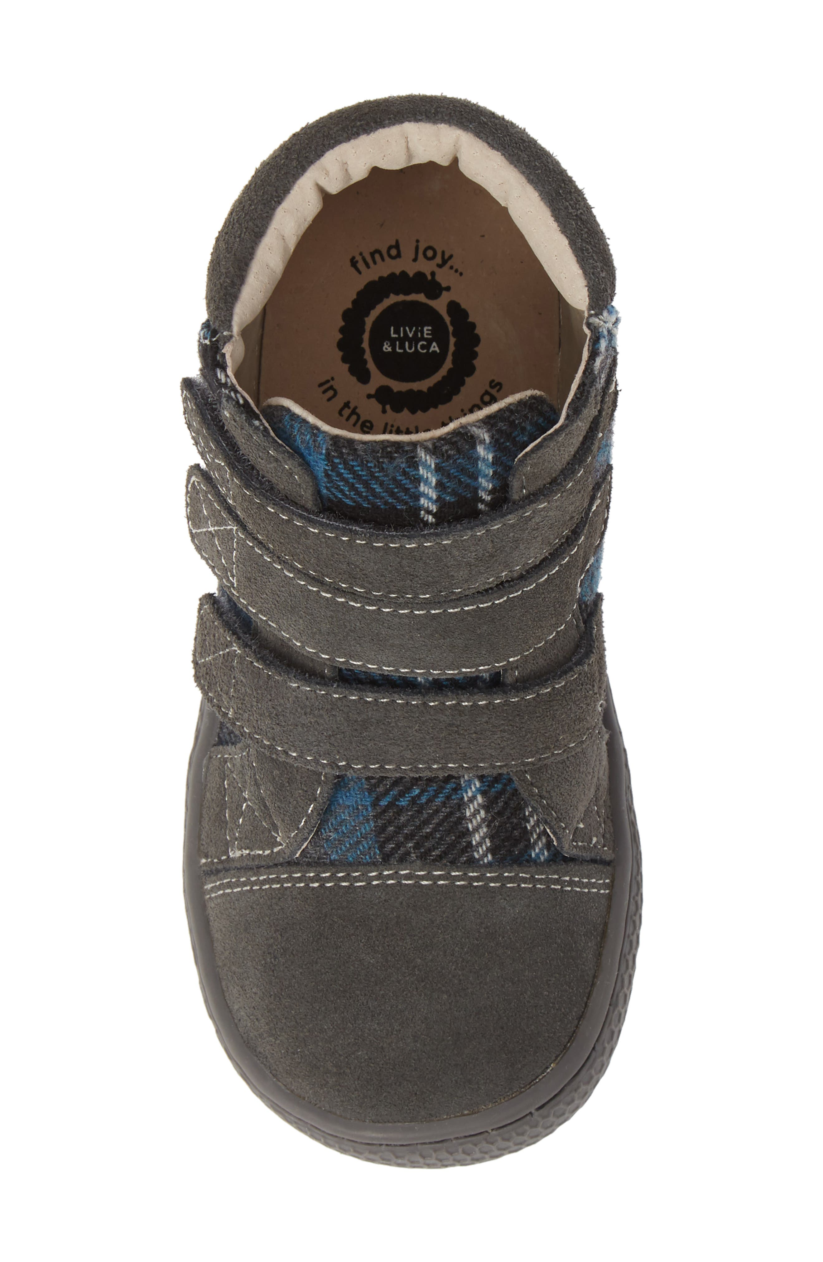 'Jamie' High Top Sneaker,                             Alternate thumbnail 5, color,                             GRAY PLAID