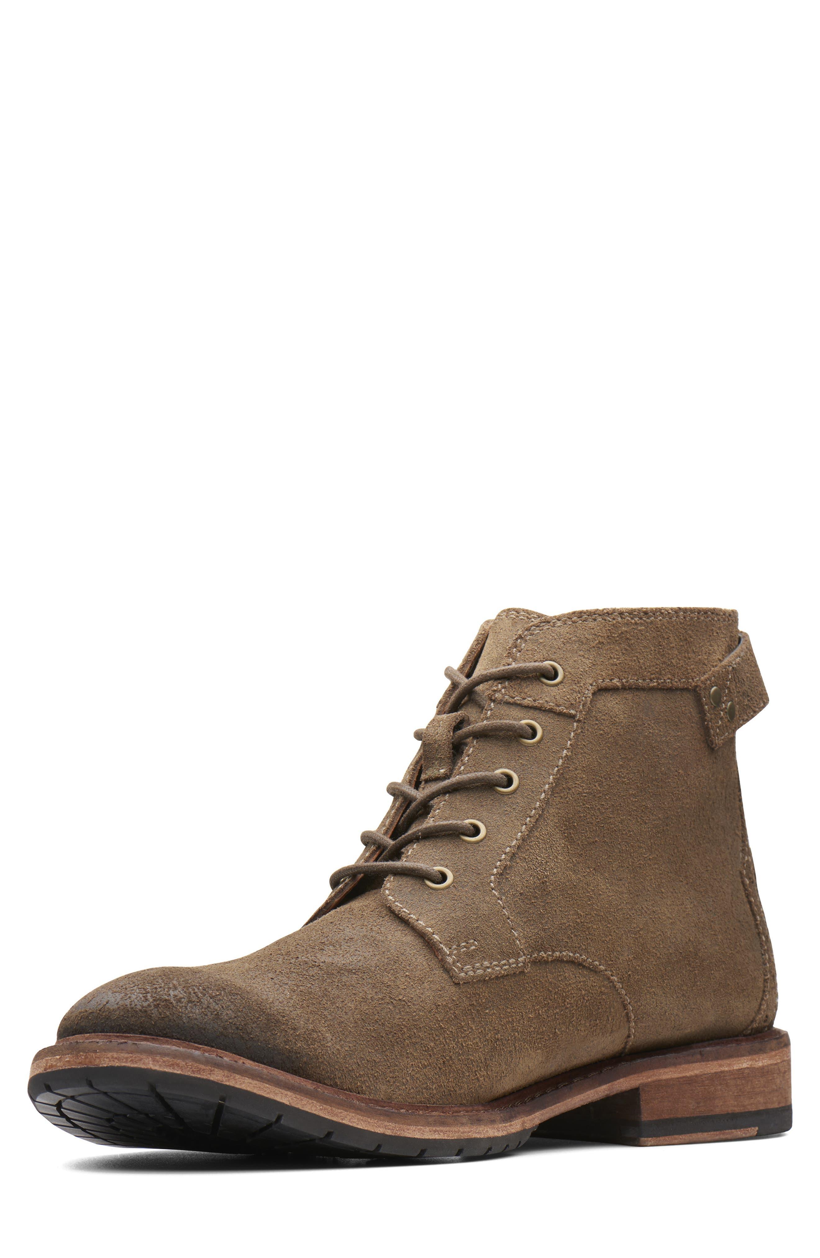 Clarkdale Bud Plain Toe Boot,                             Alternate thumbnail 6, color,                             KHAKI SUEDE