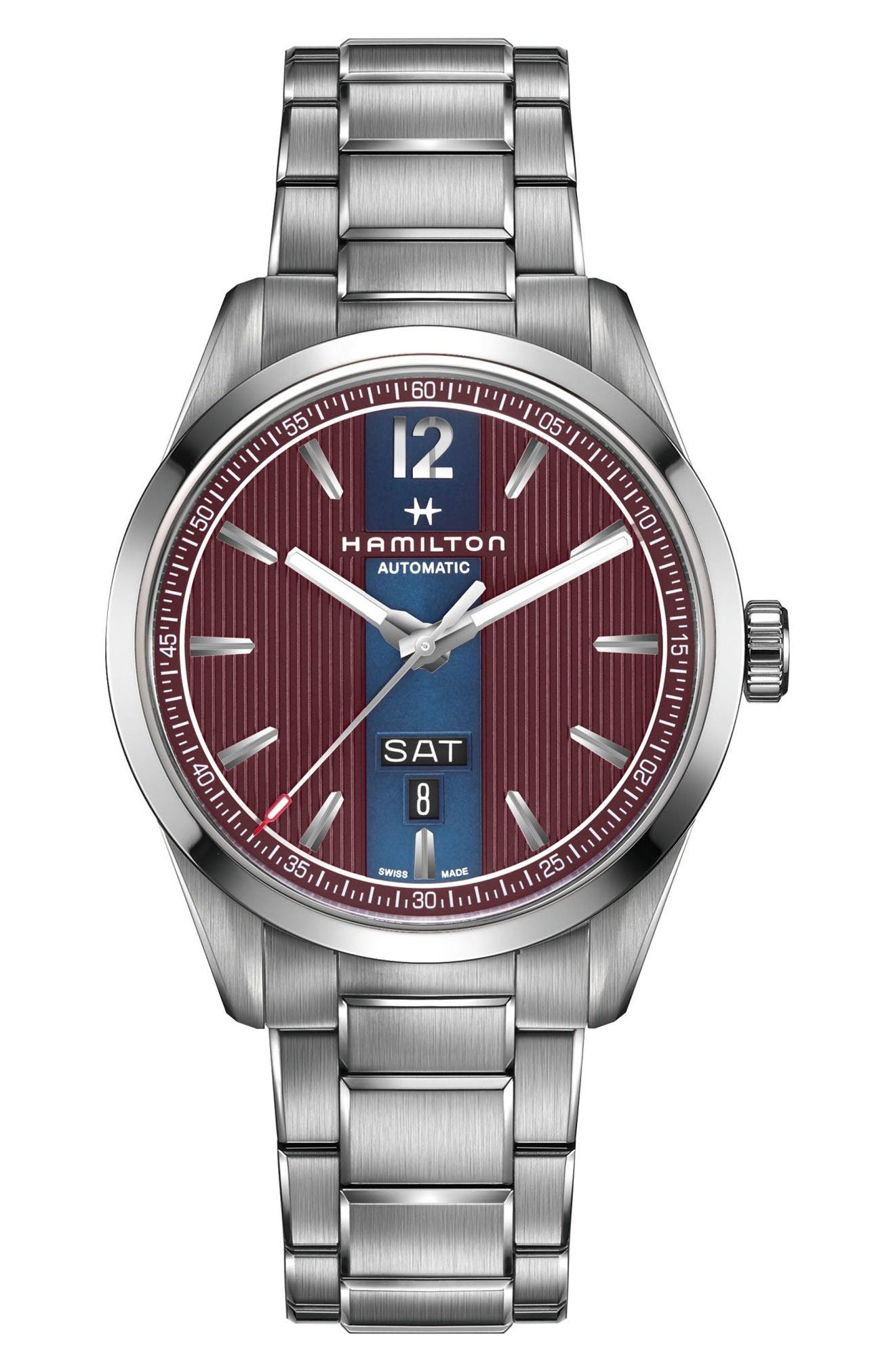 Broadway Automatic Bracelet Watch, 42mm,                             Main thumbnail 1, color,                             SILVER/ RED/ SILVER