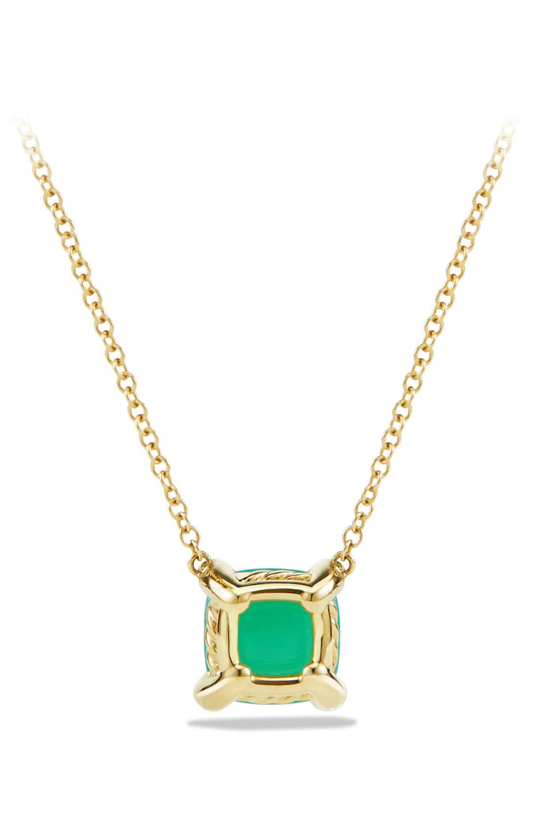 'Châtelaine' Pendant Necklace with Semiprecious Stone and Diamonds in 18K Gold,                             Alternate thumbnail 6, color,                             CHRYSOPRASE