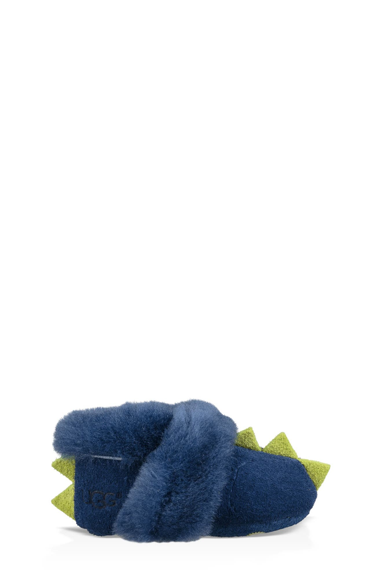 Dydo Solvi Genuine Shearling Cuffed Bootie,                             Alternate thumbnail 3, color,                             NAVY / BRIGHT CHARTREUSE
