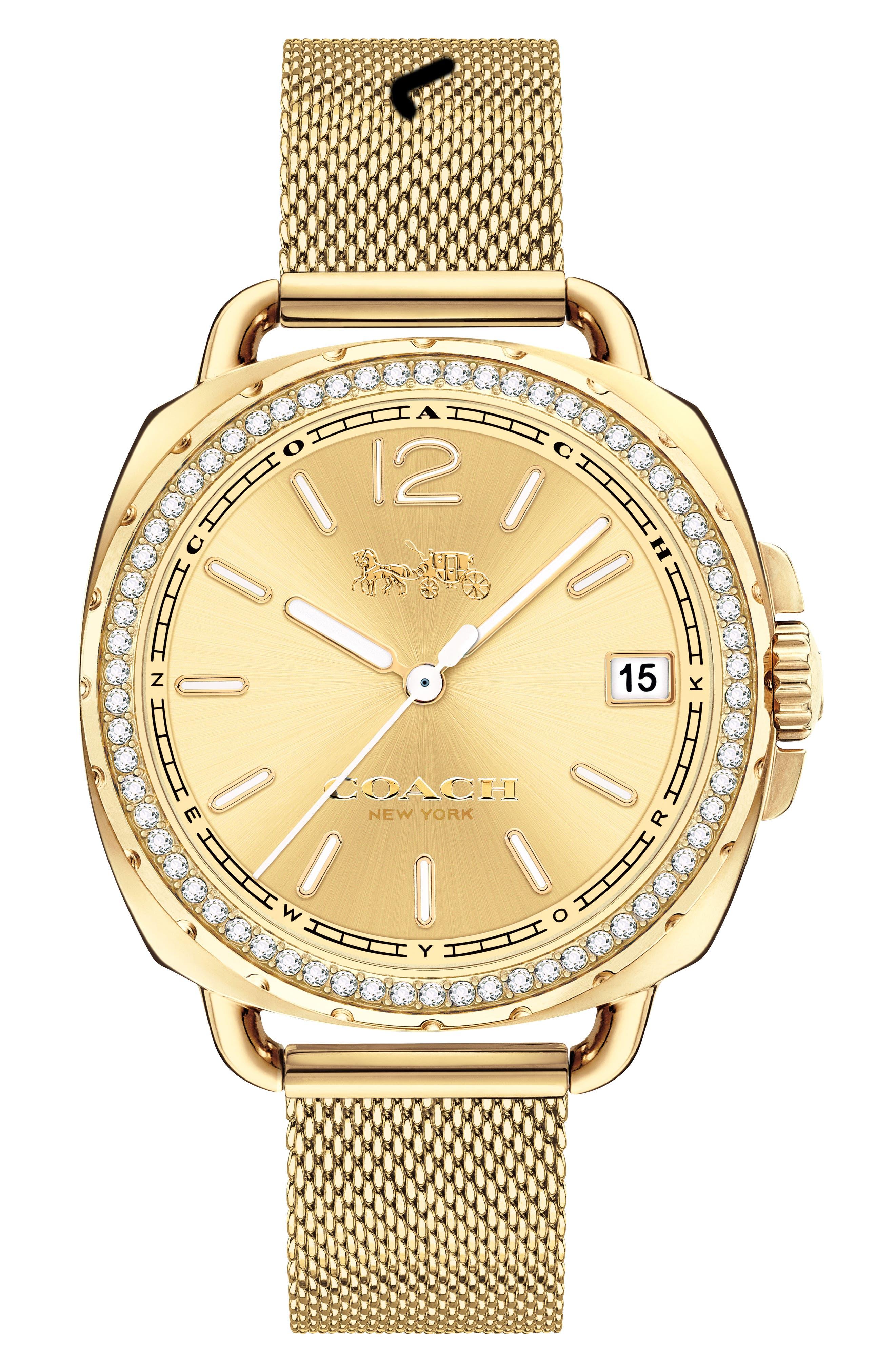 Tatum Crystal Mesh Strap Watch, 35mm,                             Main thumbnail 2, color,