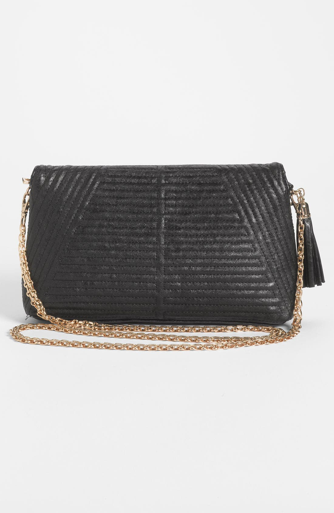 Quilted Faux Leather Convertible Clutch,                             Alternate thumbnail 3, color,                             001