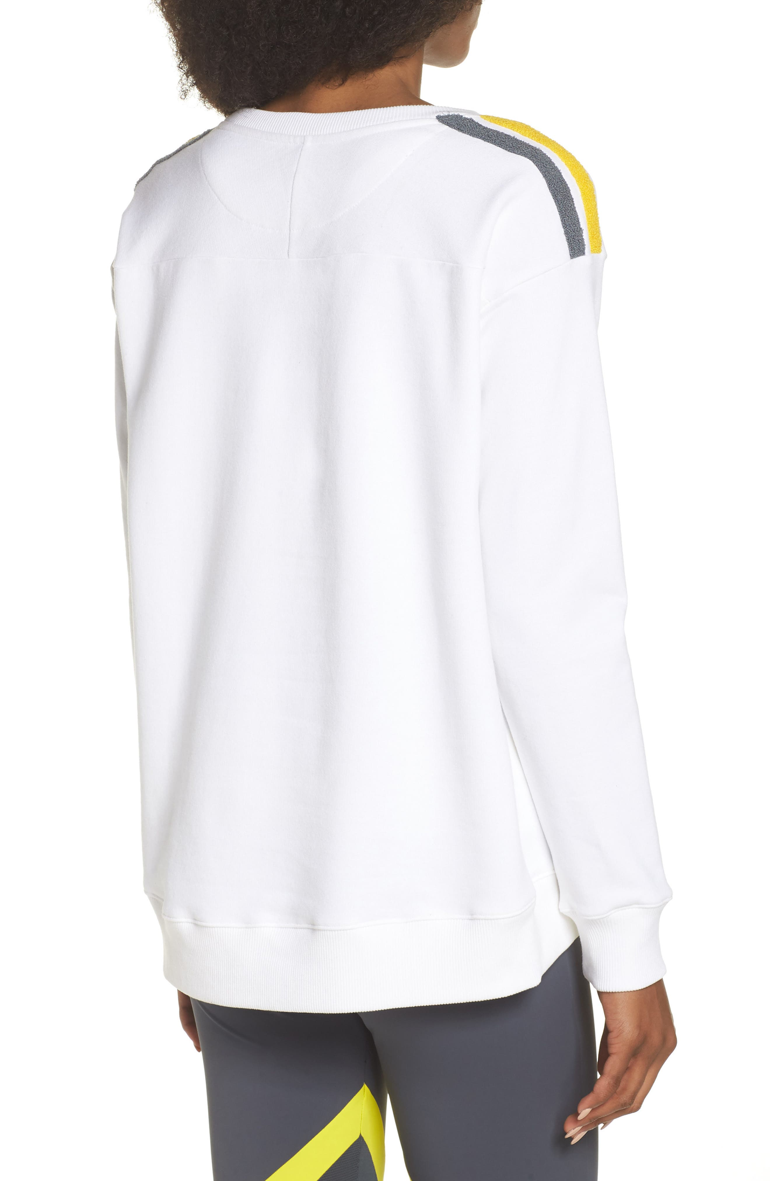 BoomBoom Athletica Tricolor Shoulder Sweatshirt,                             Alternate thumbnail 2, color,                             WHITE/ GREY/ YELLOW