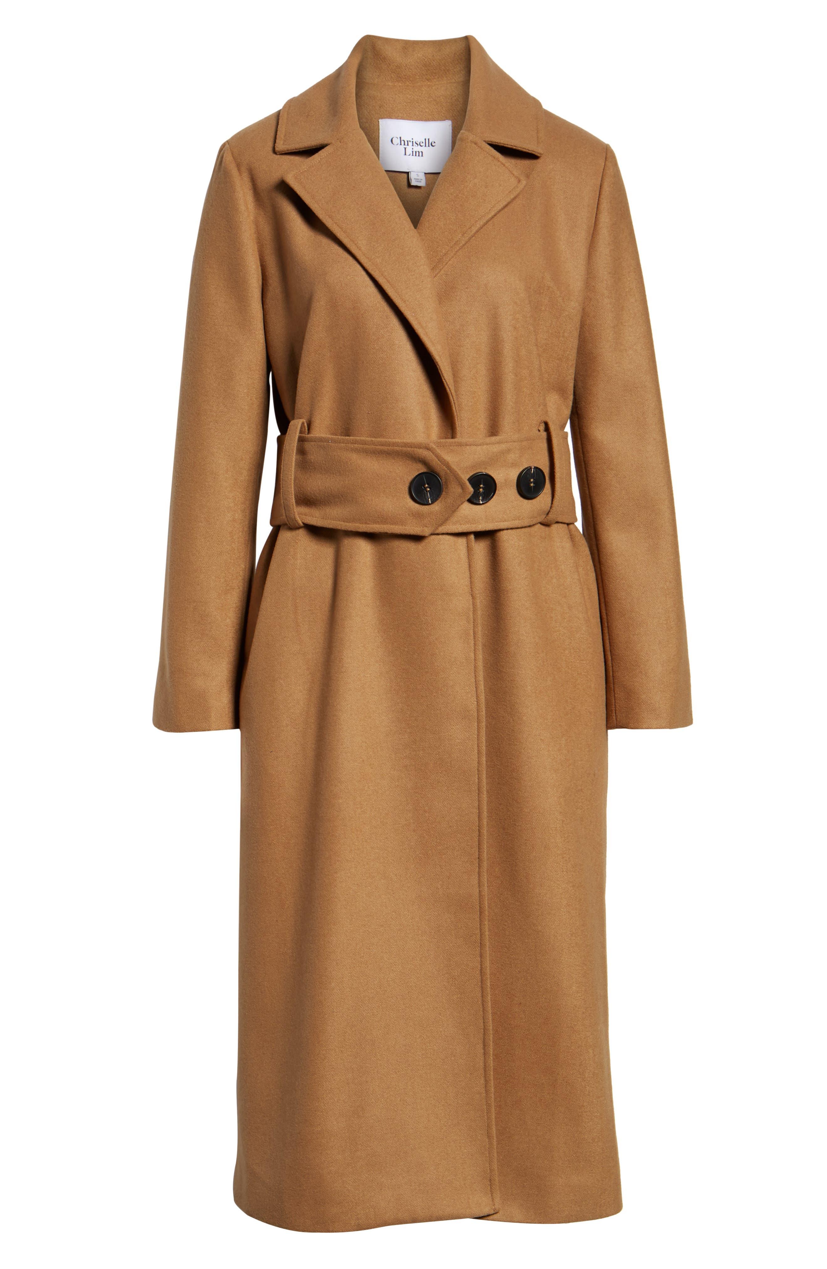 Chriselle Lim Victoria Belted Coat,                             Alternate thumbnail 6, color,                             CAMEL