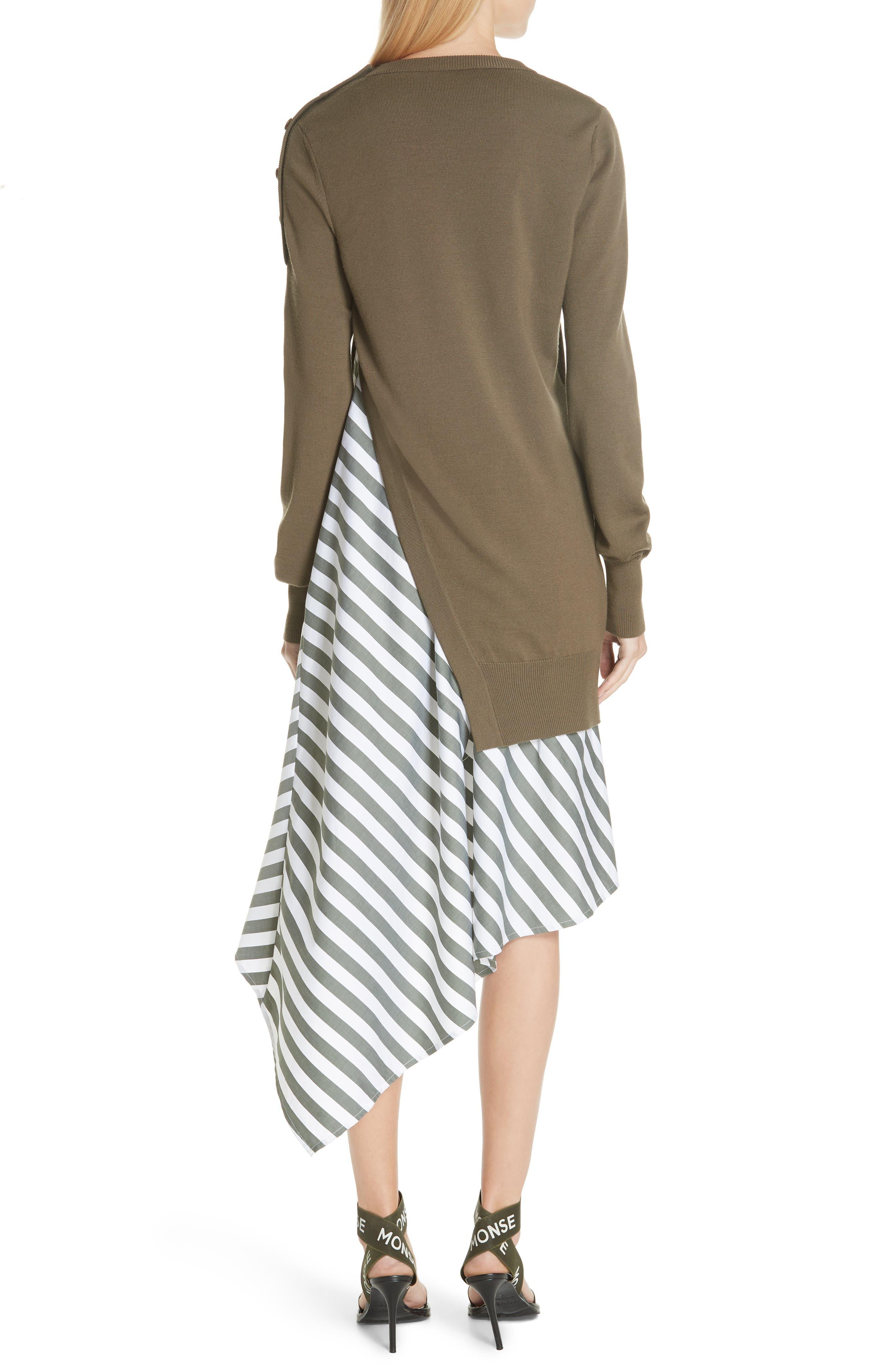 MONSE,                             Knit & Stripe Poplin Asymmetrical Dress,                             Alternate thumbnail 2, color,                             OLIVE/ WHITE