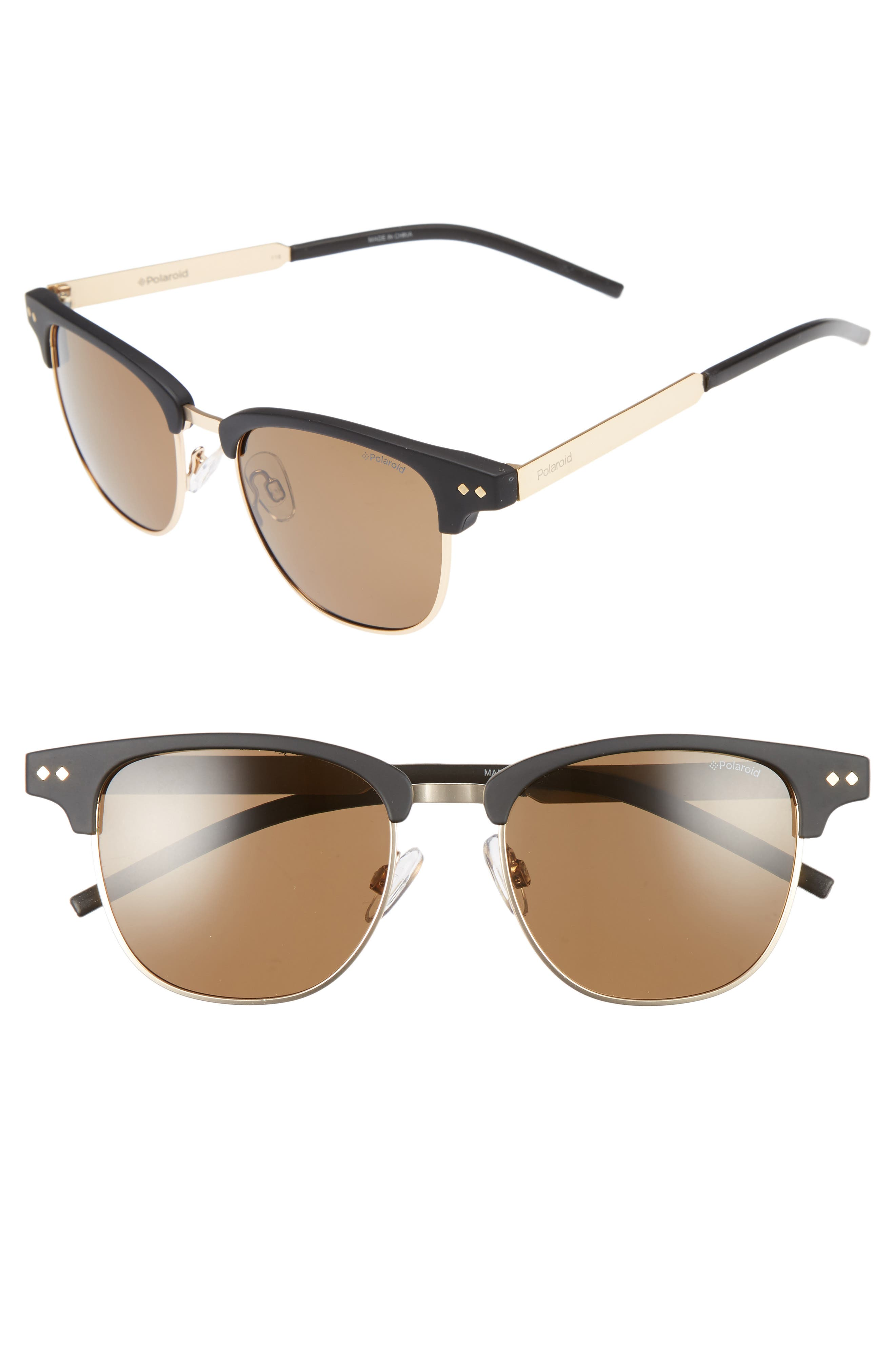 POLAROID 51mm Polarized Cat Eye Sunglasses, Main, color, 001