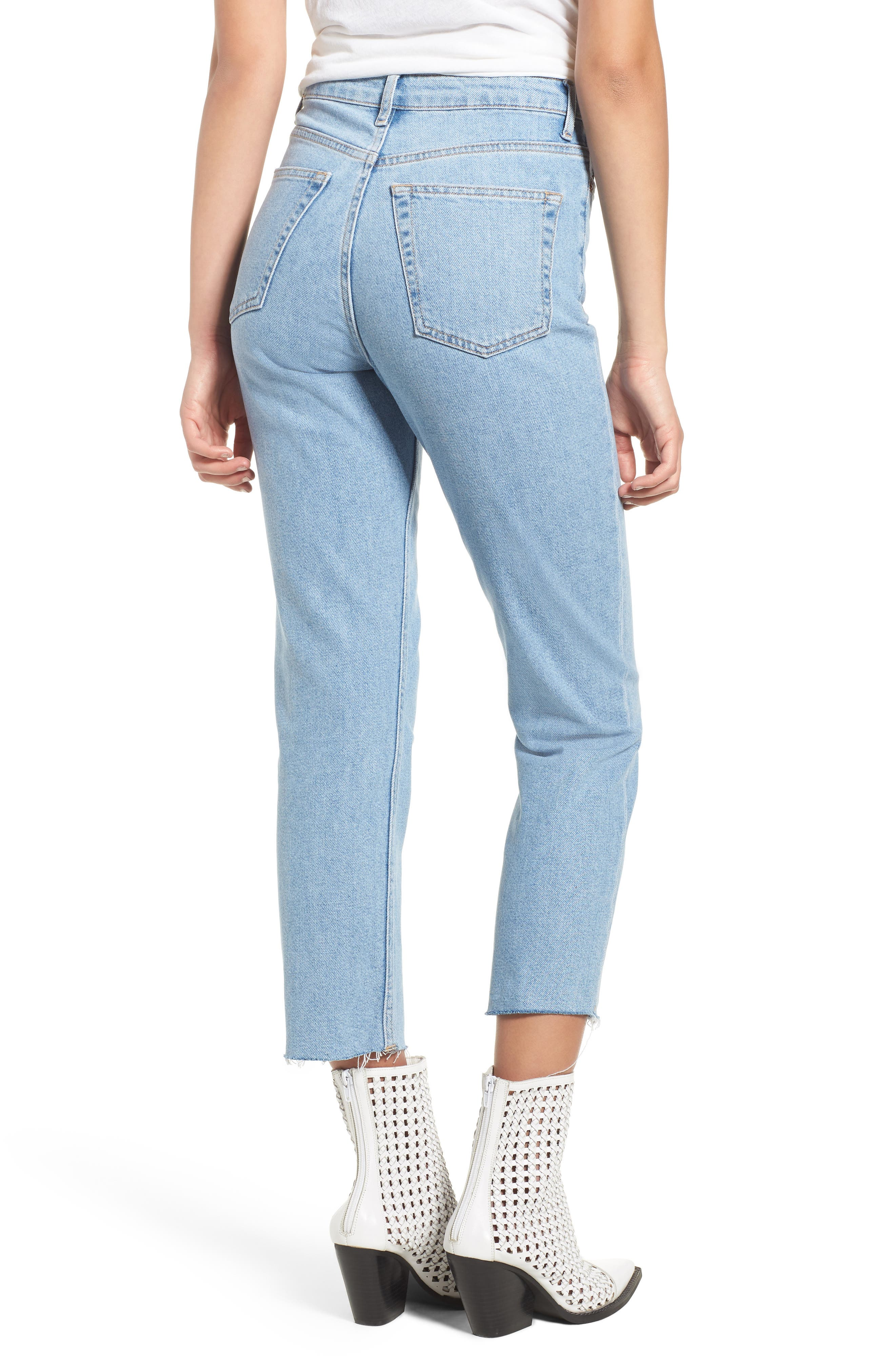 Raw Hem Straight Leg Jeans,                             Alternate thumbnail 2, color,                             BLEACH STONE DENIM