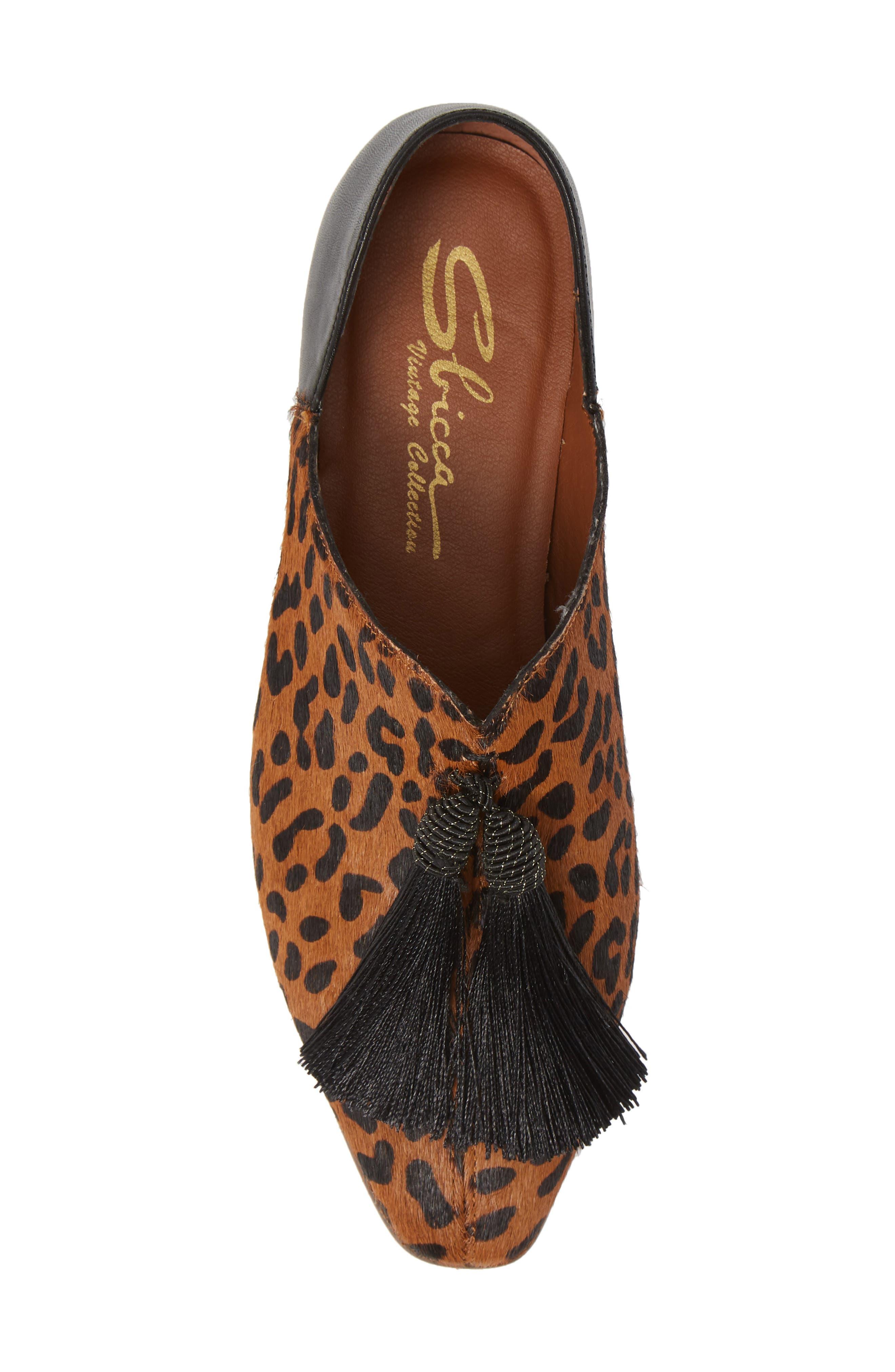 SBICCA,                             Primwood Tassel Loafer,                             Alternate thumbnail 5, color,                             BLACK LEOPARD LEATHER