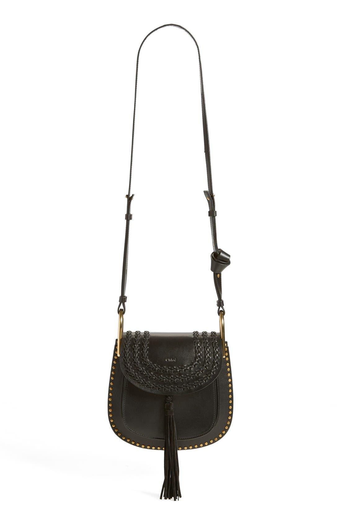 CHLOÉ,                             'Small Hudson' Studded Calfskin Leather Crossbody Bag,                             Alternate thumbnail 3, color,                             001