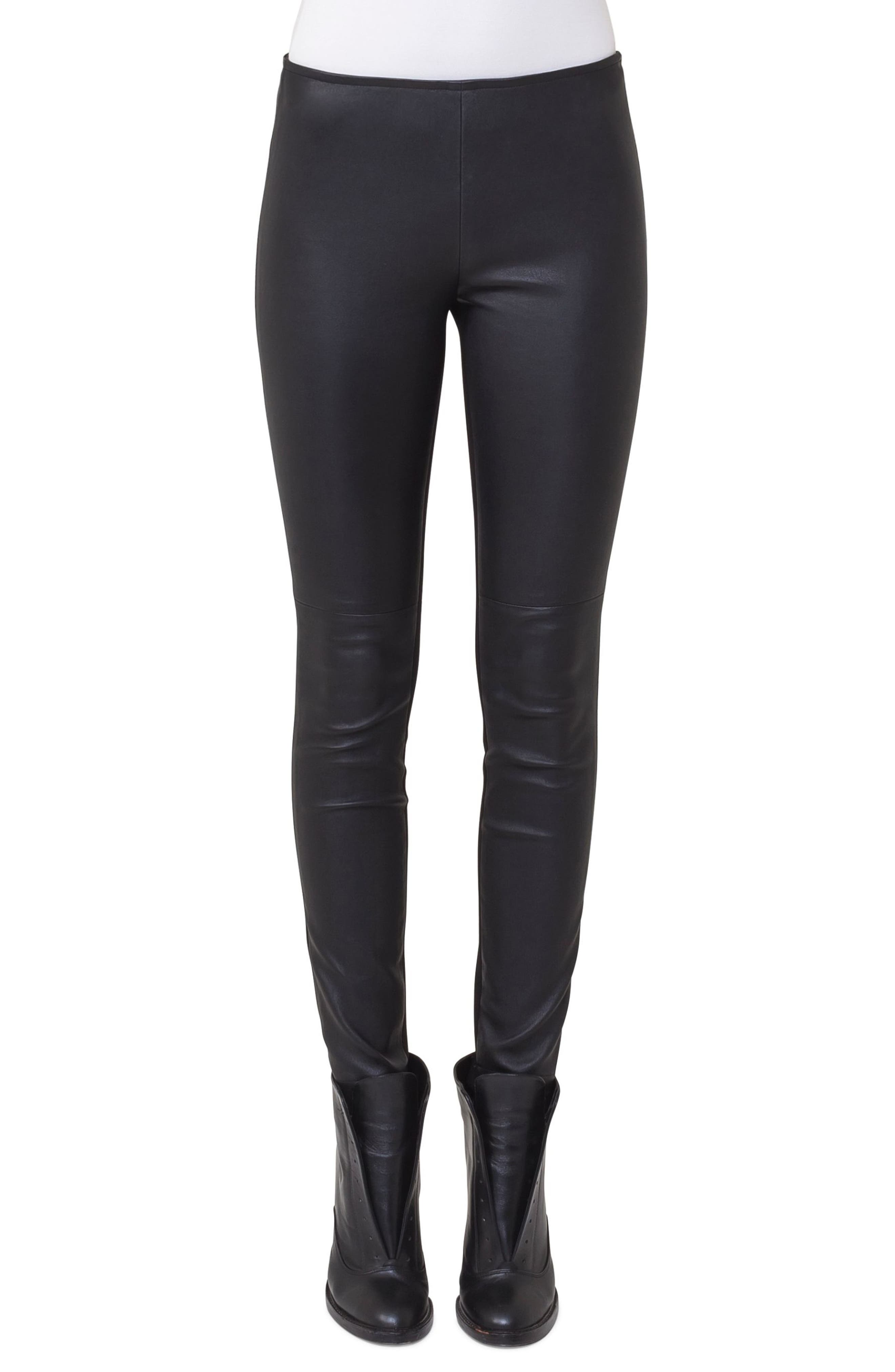 Lambskin Leather & Jersey Pants,                             Main thumbnail 1, color,                             BLACK