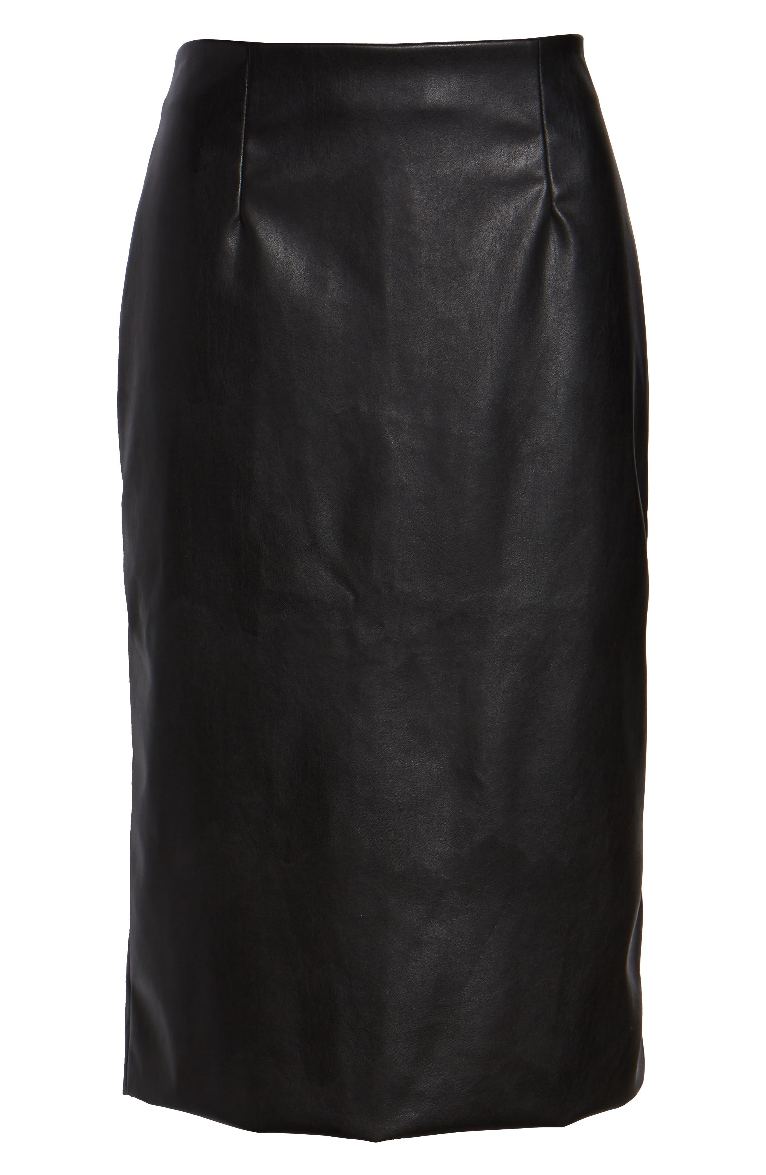 Faux Leather Pencil Skirt,                             Alternate thumbnail 6, color,                             BLACK