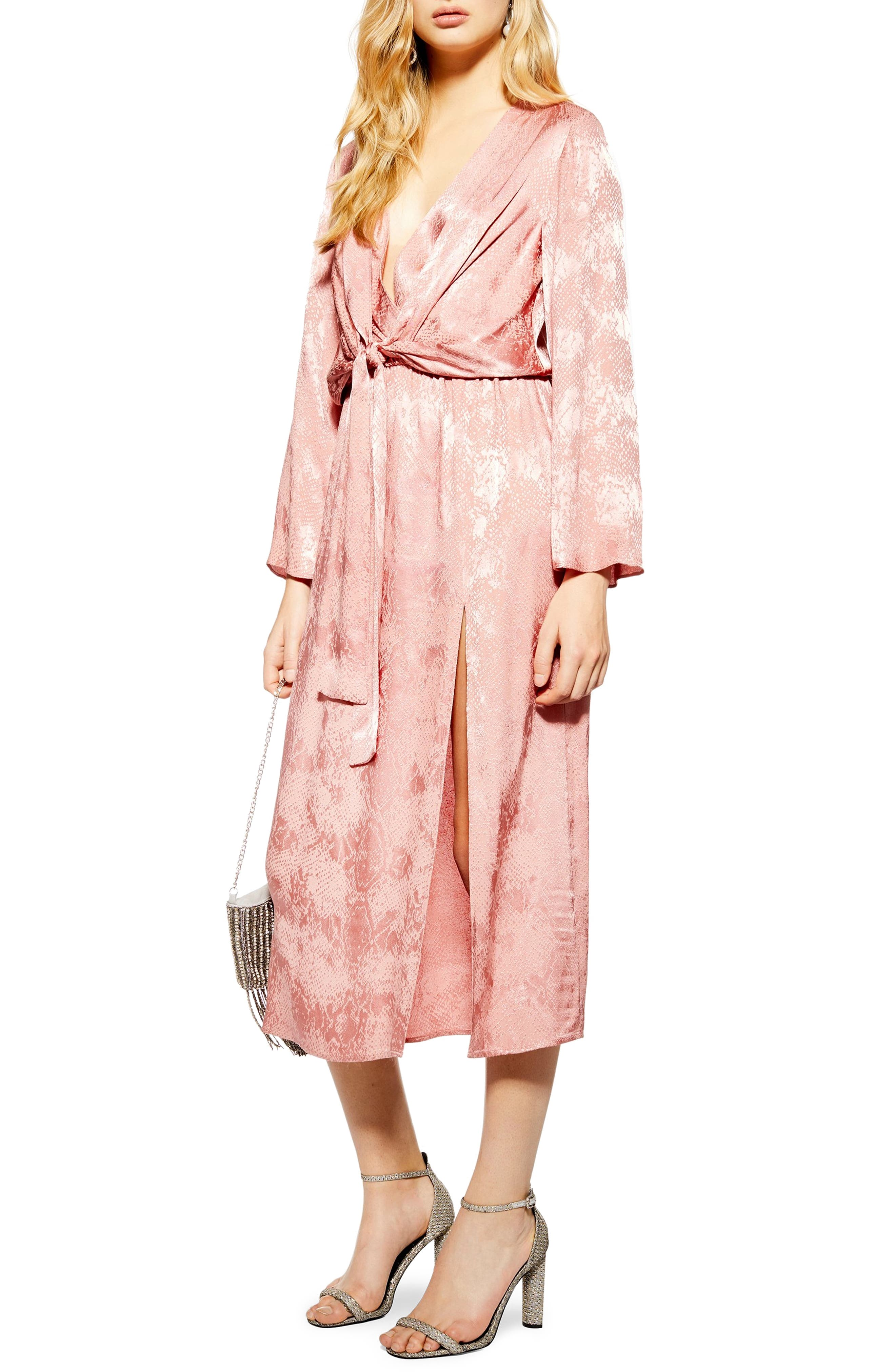 Topshop Snake Jacquard Midi Dress, US (fits like 0) - Pink