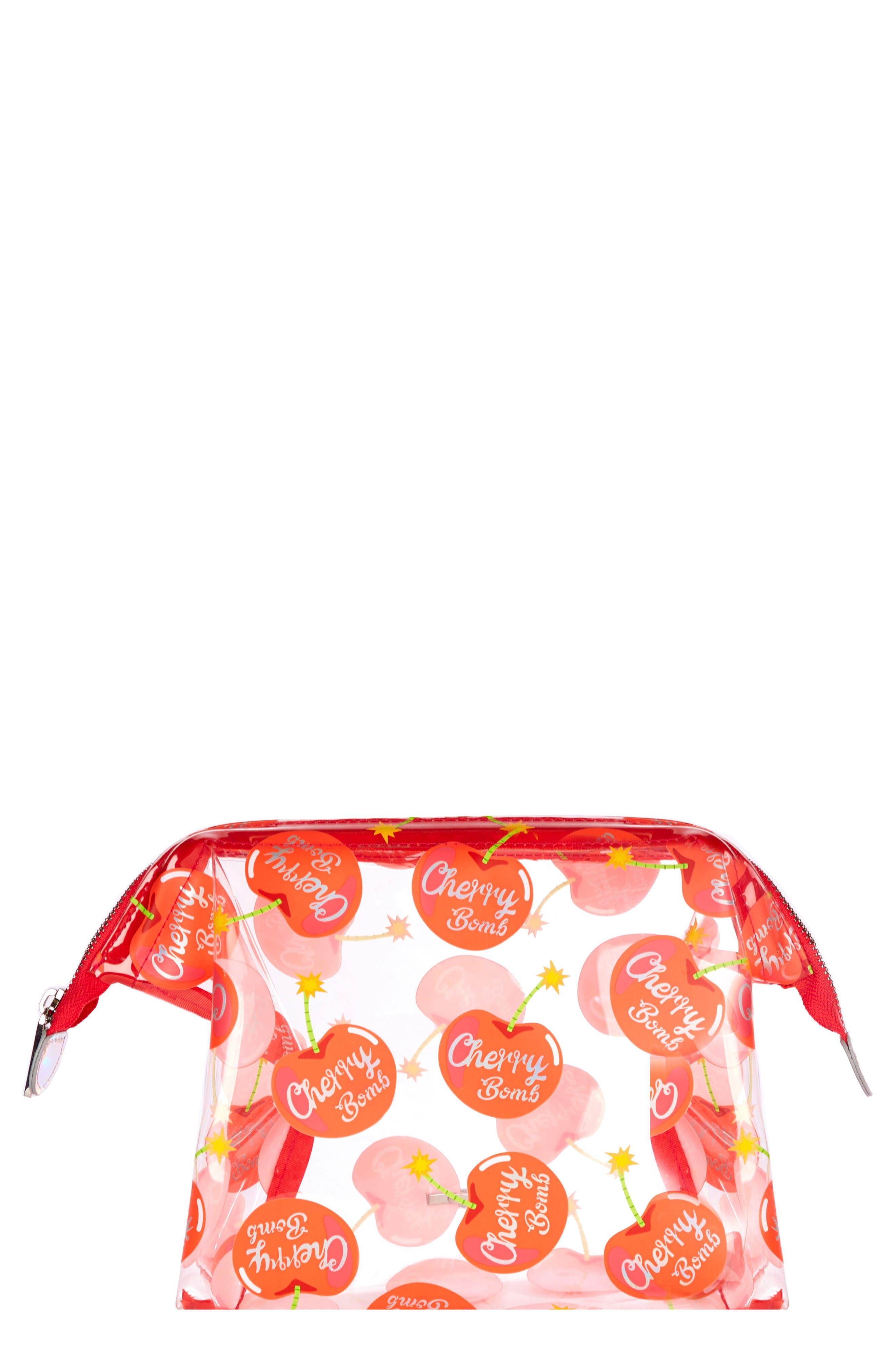 Cherry Bomb Cosmetics Case,                         Main,                         color, NO COLOR