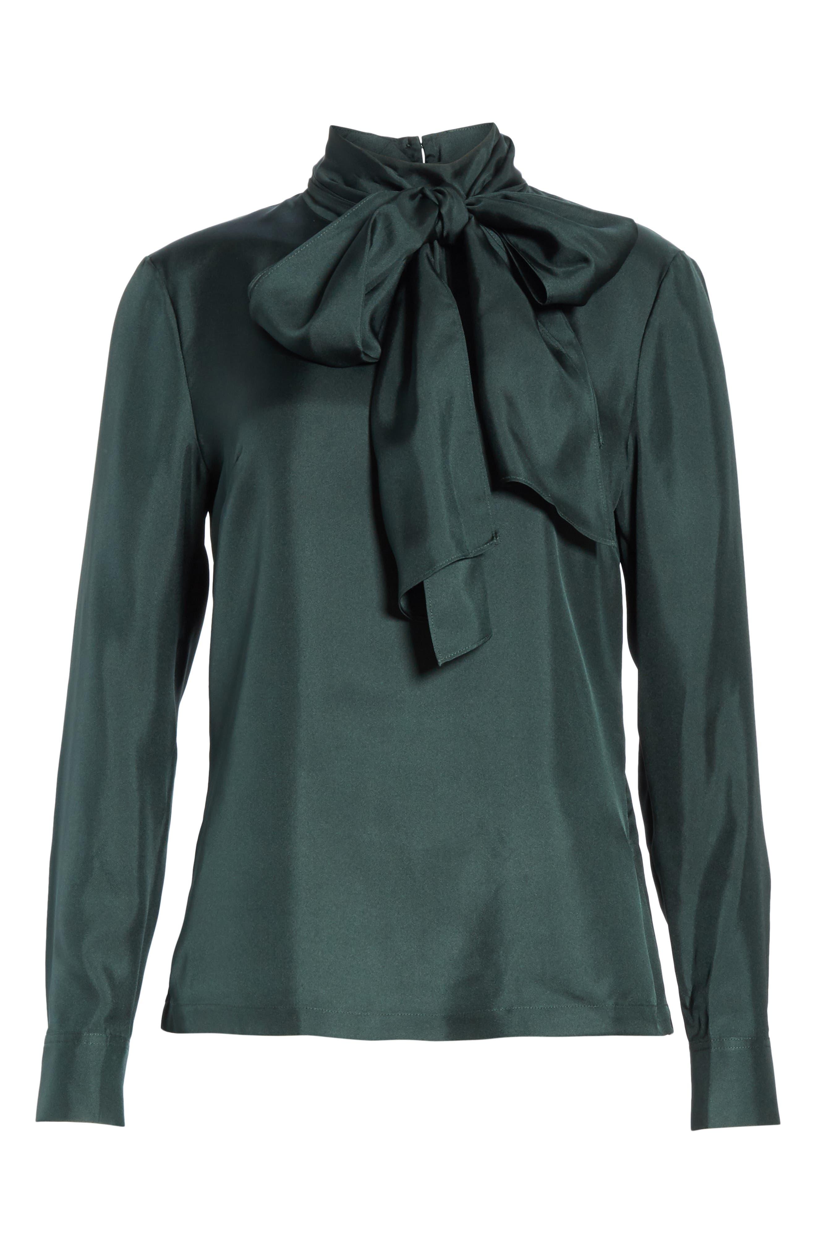 Marther Tie Neck Silk Blouse,                             Alternate thumbnail 6, color,                             DARK GREEN